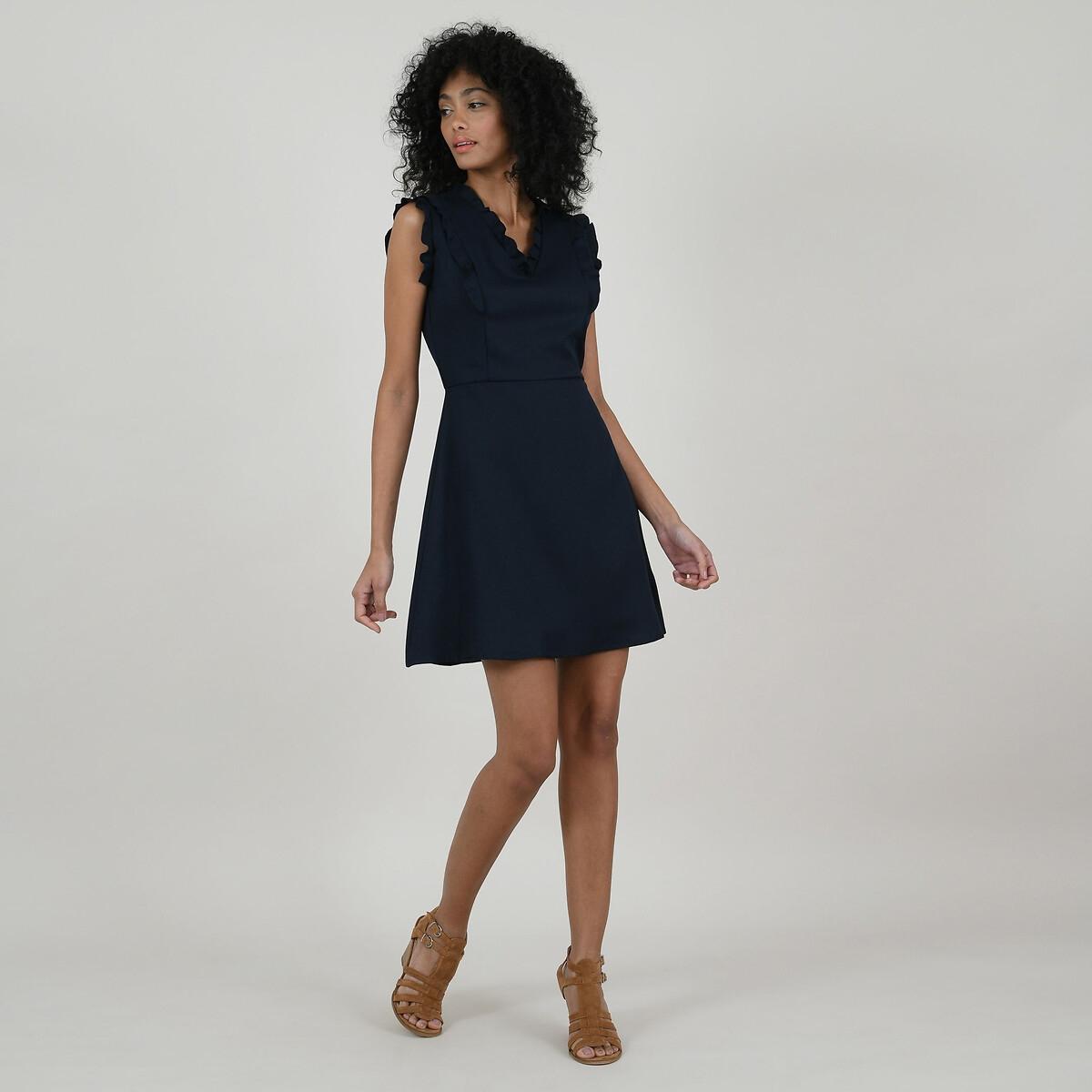 Платье-трапеция La Redoute Короткое с V-образным вырезом и рукавами с воланами M синий