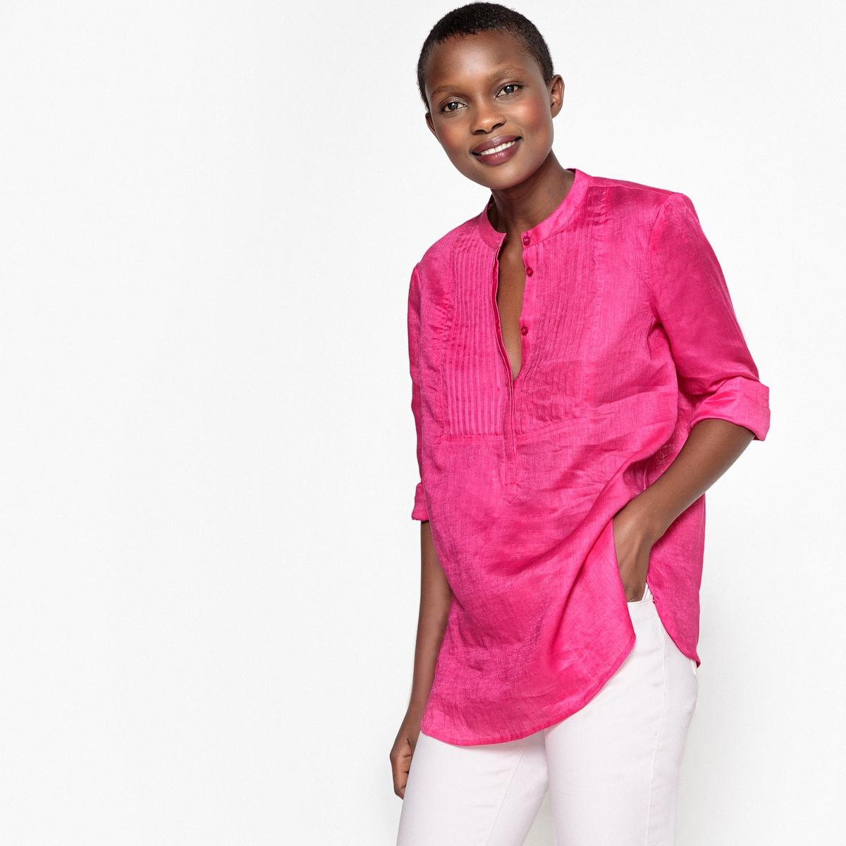 Блузка La Redoute Из льна с воротником-стойкой и плиссированной манишкой 34 (FR) - 40 (RUS) розовый наволочка la redoute из хлопковой перкали aricha 50 x 70 см розовый