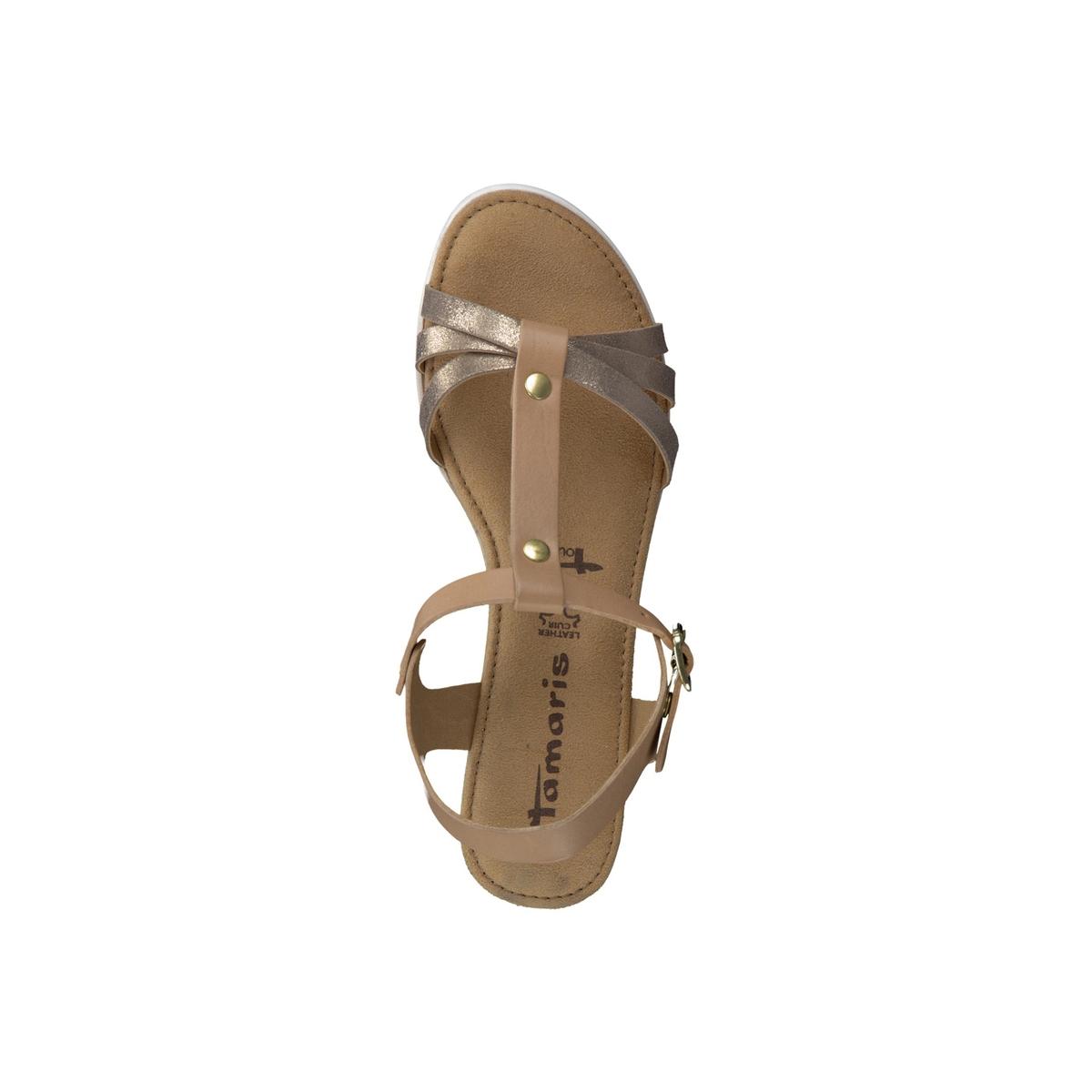 Босоножки кожаные 28218-28Верх/Голенище : кожа  Подкладка : синтетика  Стелька : текстиль  Подошва : синтетика  Высота каблука : 4,5 см  Форма каблука : танкетка  Мысок : закругленный мысок  Застежка : пряжка<br><br>Цвет: бежевый,черный<br>Размер: 40.39