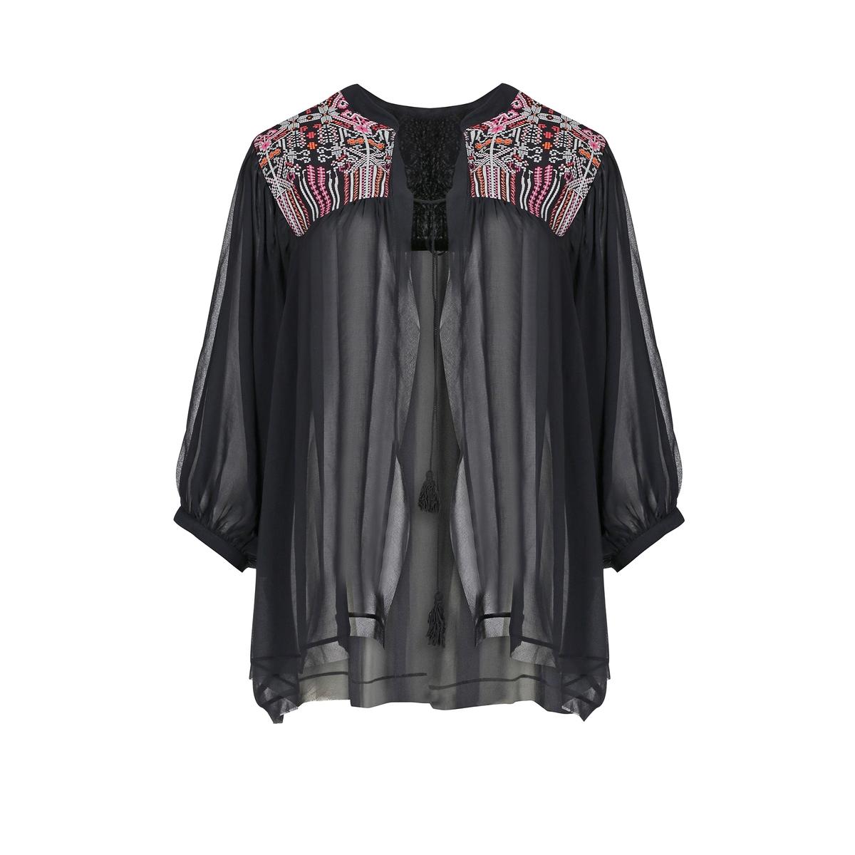 Жакет-кимоноЖакет-кимоно MAT FASHION. 100% полиэстер. Жакет с этническим рисунком. Рукава 3/4 расклешенной формы. Застежка на завязки с кисточками.<br><br>Цвет: черный