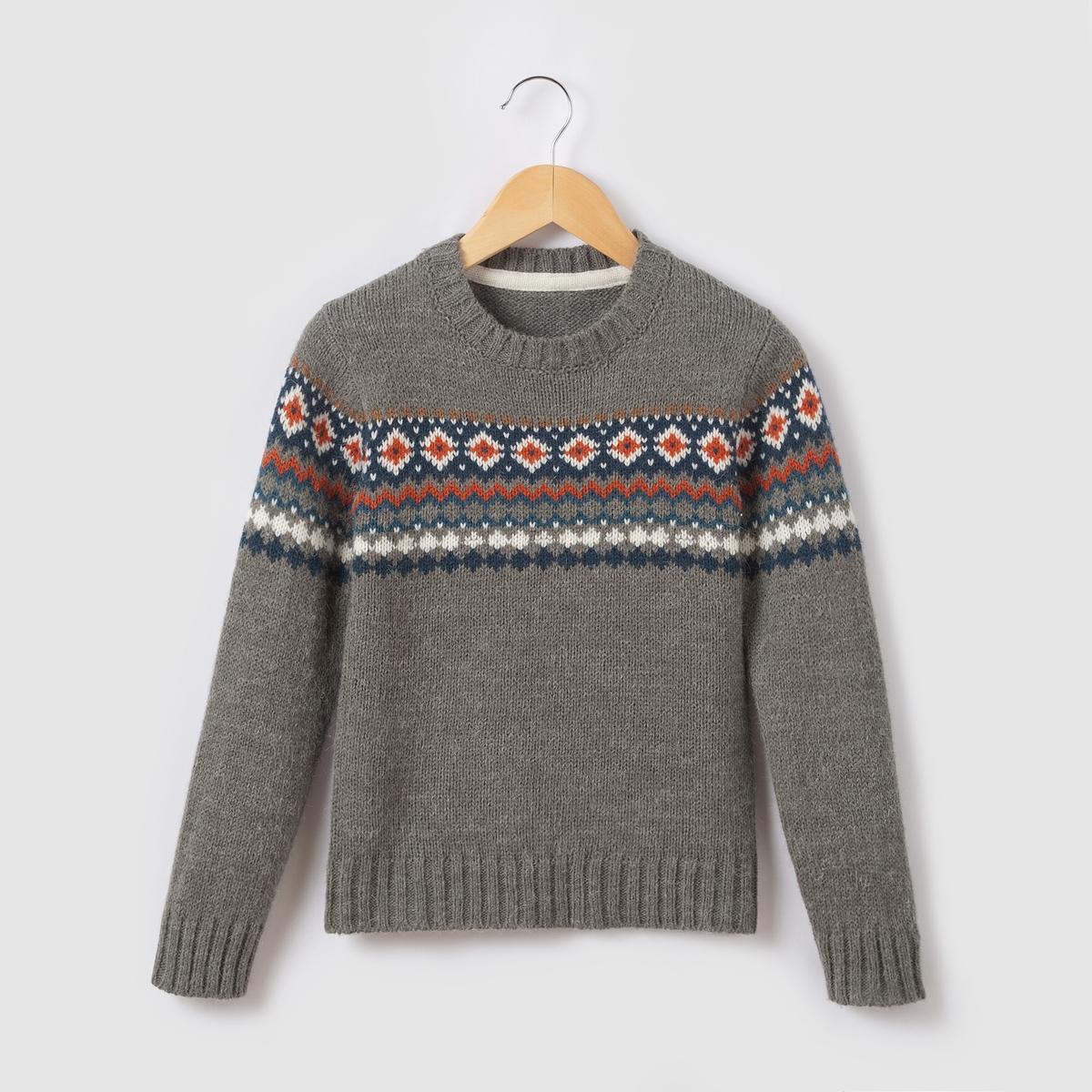 Пуловер из жаккардовой ткани фриз 3-12 лет