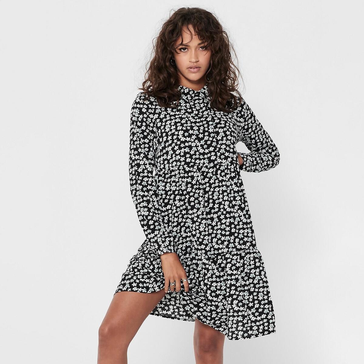 Фото - Платье-рубашка LaRedoute Прямого покроя с цветочным рисунком 38 (FR) - 44 (RUS) черный юбка laredoute джинсовая прямого покроя xs синий