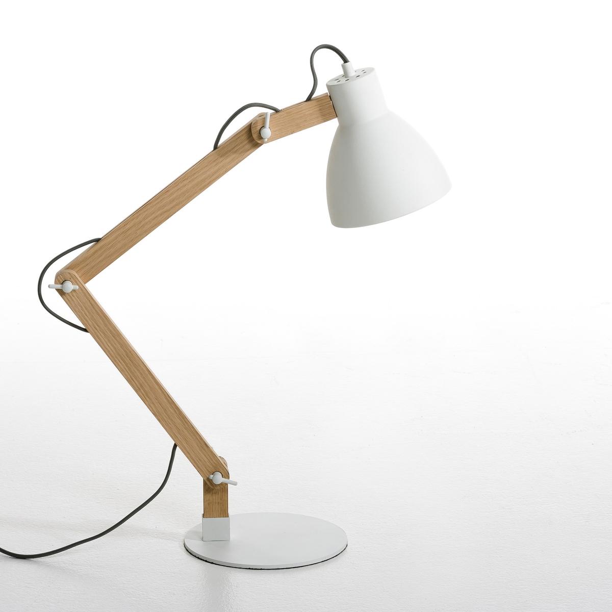 Лампа настольная ThaddeusНастольная лампа со свежим и простым дизайном, в скандинавском стиле, из необработанного дуба и металла с белым матовым эпоксидным покрытием . Электрический кабель из серого хлопка . Регулируемые лапка и абажур с крепежом из металла . Патрон E27 для флюокомпактной лампочки макс 20W (не входит в комплект)  . Размеры (в обычном положении). Д.45 x Г.20 см x высота ок.7 см.Этот светильник совместим с лампочками    энергетического класса   A .Это изделие может подойти для детской комнаты ( с 14 лет) в зависимости от действующих норм  .<br><br>Цвет: белый,розовый,хаки,черный<br>Размер: единый размер.единый размер.единый размер.единый размер