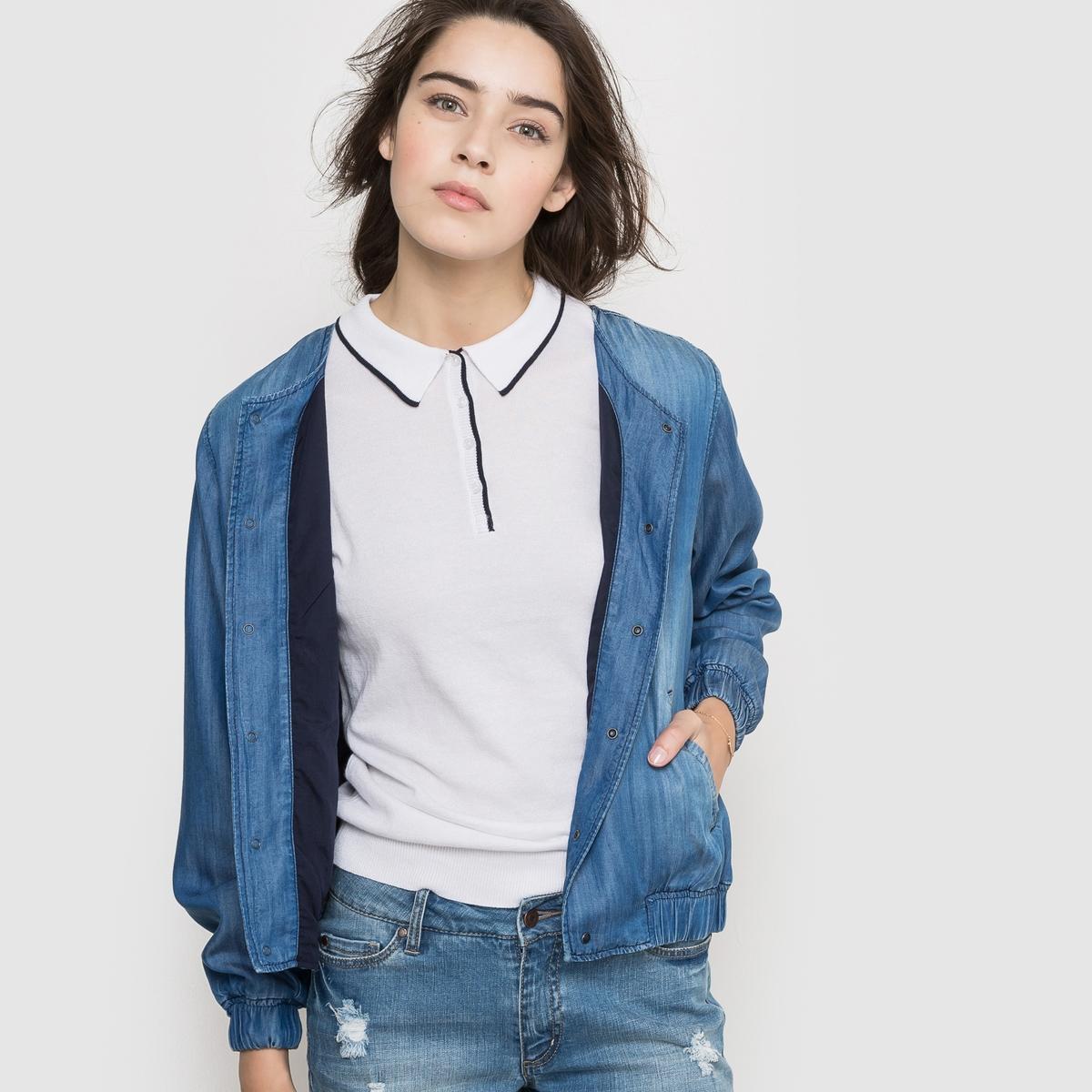 Куртка короткая в стиле бомбер из ткани с имитацией денимаКуртка короткая в стиле бомбер. 100% тенселя (Tencel®). Круглый вырез. Застежка на кнопки. 2 боковых кармана . Длинные рукава. Манжеты и низ из эластичного материала. Длина 57 см.<br><br>Цвет: синий потертый<br>Размер: S.L