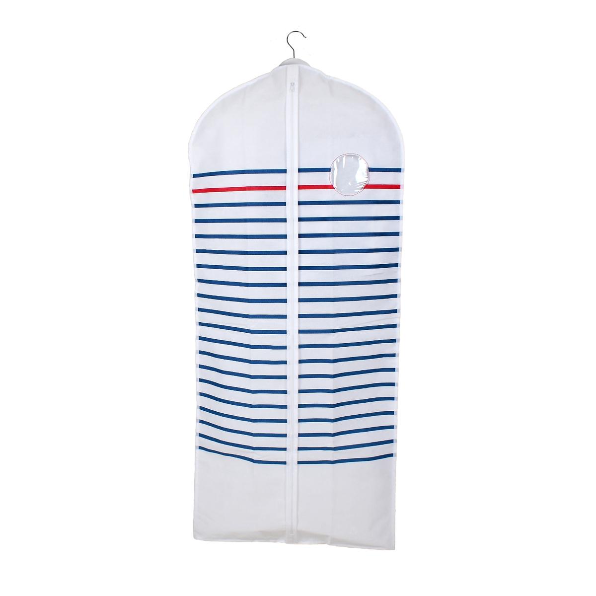 Комплект из 2 чехлов для одежды BazilХарактеристики чехла:- Нетканый, 100% полипропилена, с принтом в голубую/красную полоску на белом фоне.- 2 ручки для переноски позволяют сложить чехол вдвое, отверстие для вешалки-плечиков.- Застежка на молнию.- Прозрачная вставка.Размеры чехла:Ширина 60 см.Высота 135 см (для пальто).Найдите все чехлы для хранения Bazil на сайте laredoute.ru.<br><br>Цвет: в полоску белый/темно-синий