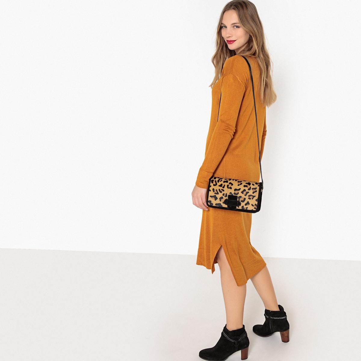цена Платье La Redoute Средней длины прямое с длинными рукавами S каштановый онлайн в 2017 году