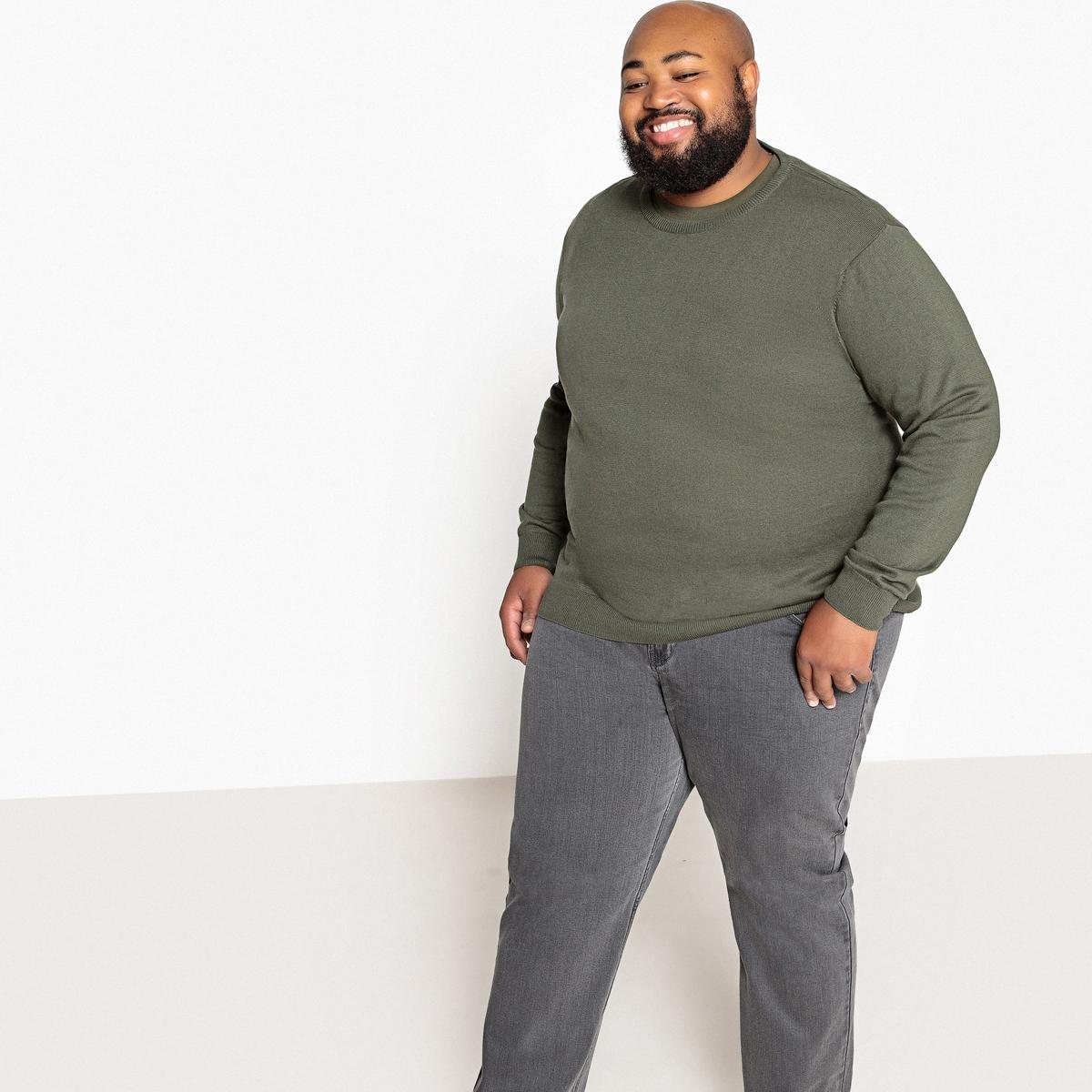 Пуловер La Redoute Большого размера с круглым вырезом из тонкого трикотажа 58/60 зеленый