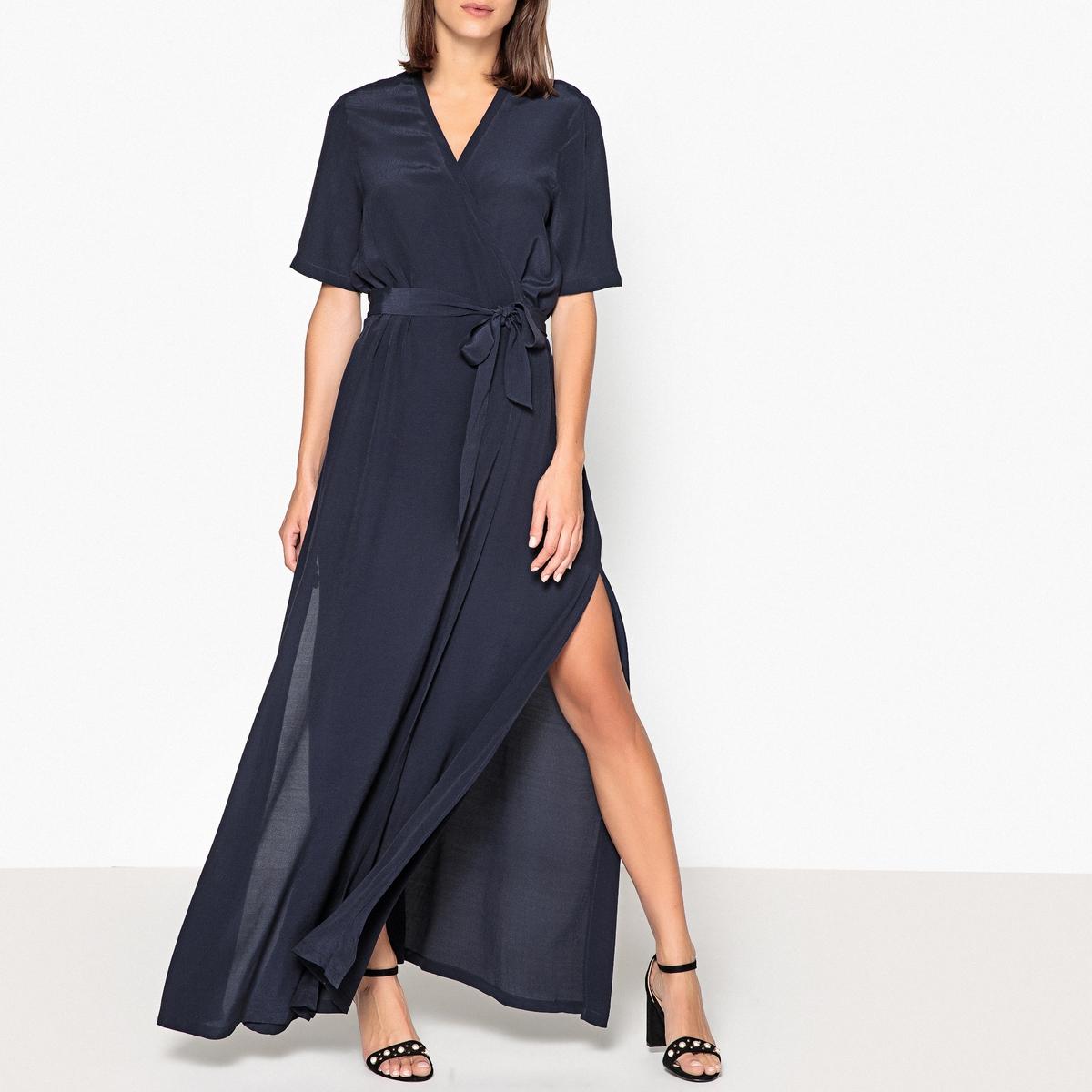 Платье с запахом длинное с короткими рукавами платье с запахом vest azahara