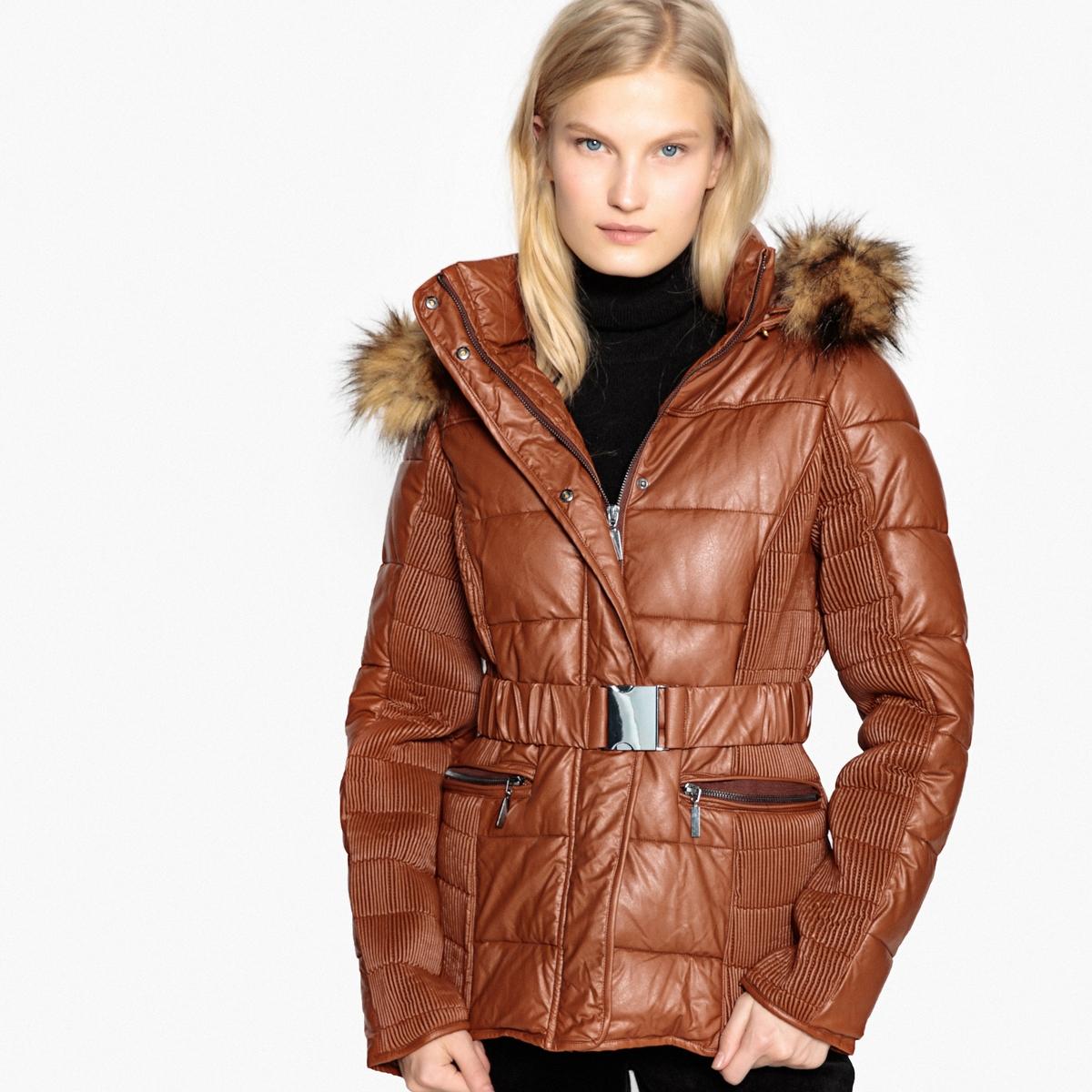 Куртка из искусственной кожи с капюшоном из искусственного меха 12storeez шуба укороченная из искусственного меха бежевый