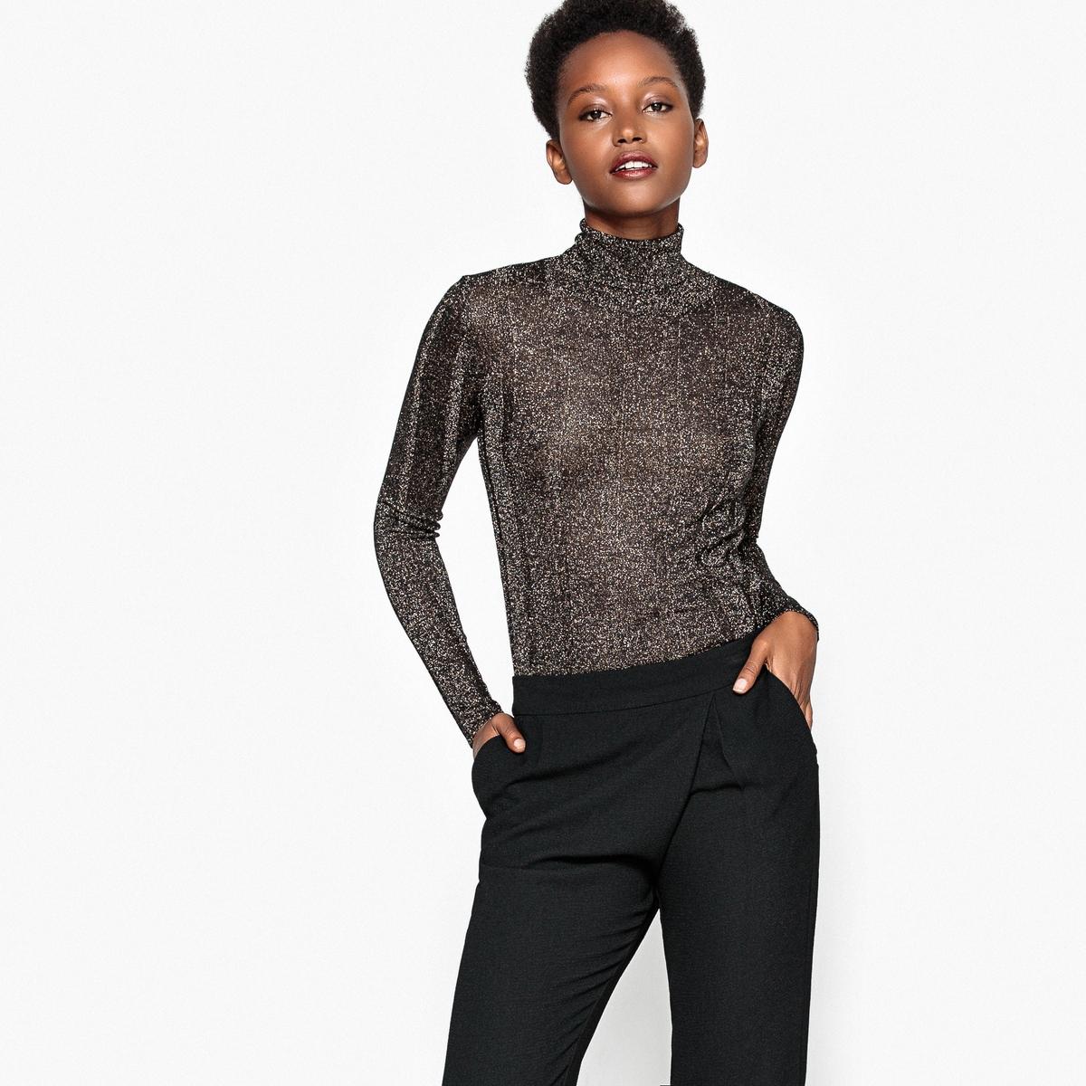 Пуловер с воротником-отворотом, с металлизированными нитями, из вискозы
