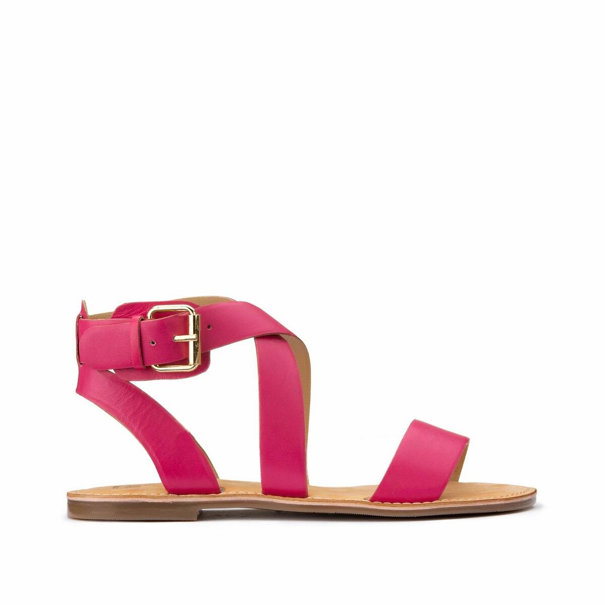 цена на Сандалии La Redoute С перекрещенными ремешками из кожи на плоском каблуке для широкой стопы 45 розовый