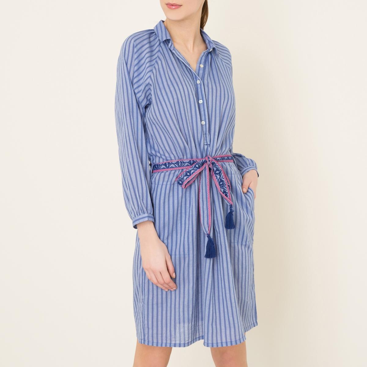 Платье RAMAYAПлатье LEON AND HARPER - модель RAMAYA 100% хлопок . Платье-миди. Рубашечный воротник с вырезом на пуговицах . Рукава ? с низом на резинке. Пояс с вышивкой и завязками с отделкой помпонами . Объемный покрой.Состав и описание   Материал : 100% хлопок   Марка : LEON AND HARPER<br><br>Цвет: синий