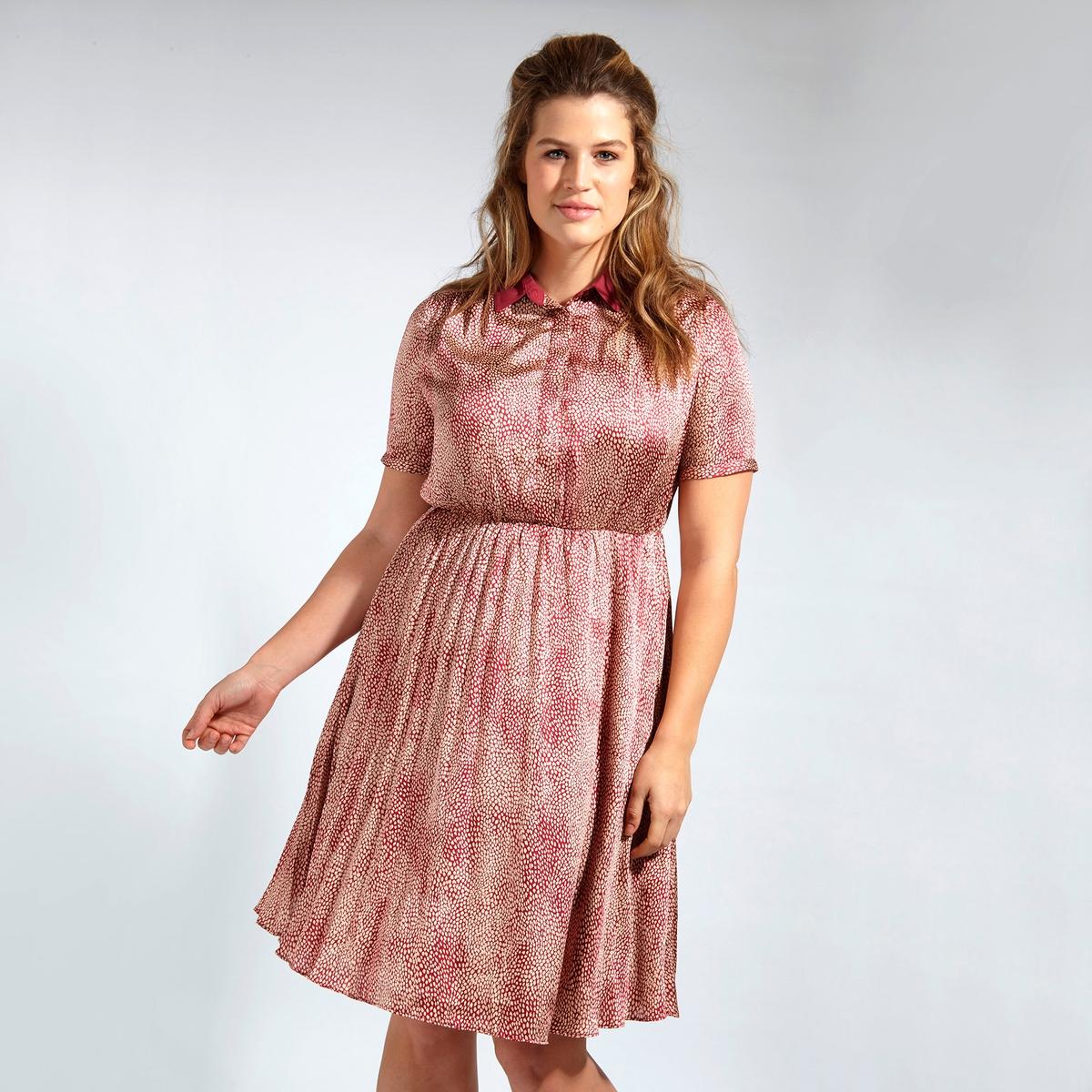 ПлатьеПлатье LOVEDROBE. Красивое платье с рубашечным воротником на пуговицах . Эффект плиссировки снизу  . 100% полиэстер<br><br>Цвет: набивной рисунок<br>Размер: 50/52 (FR) - 56/58 (RUS).48 (FR) - 54 (RUS)