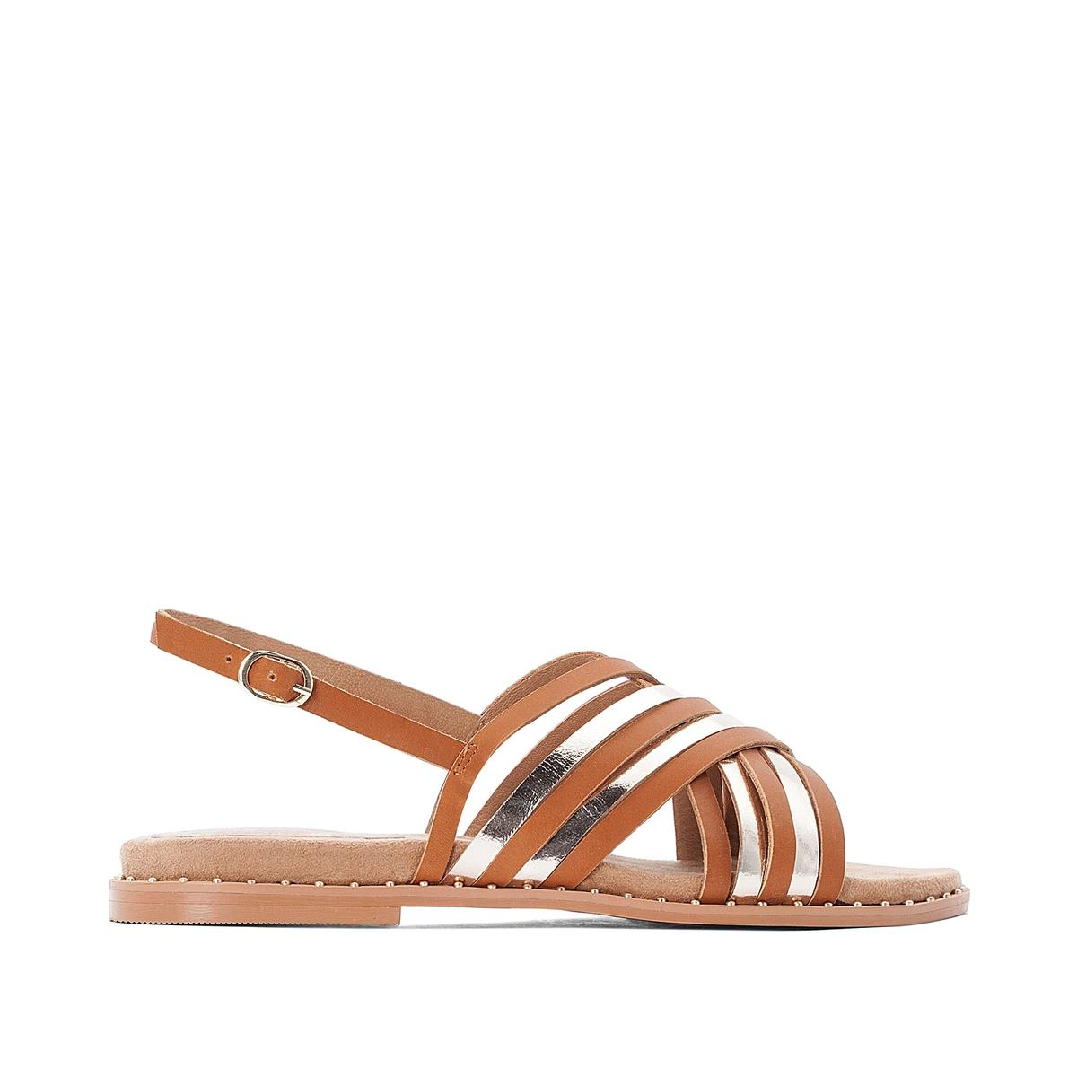 Босоножки La Redoute Кожаные на плоском каблуке для широкой стопы размеры - 39 каштановый босоножки la redoute кожаные на плоском каблуке для широкой стопы размеры 39 каштановый