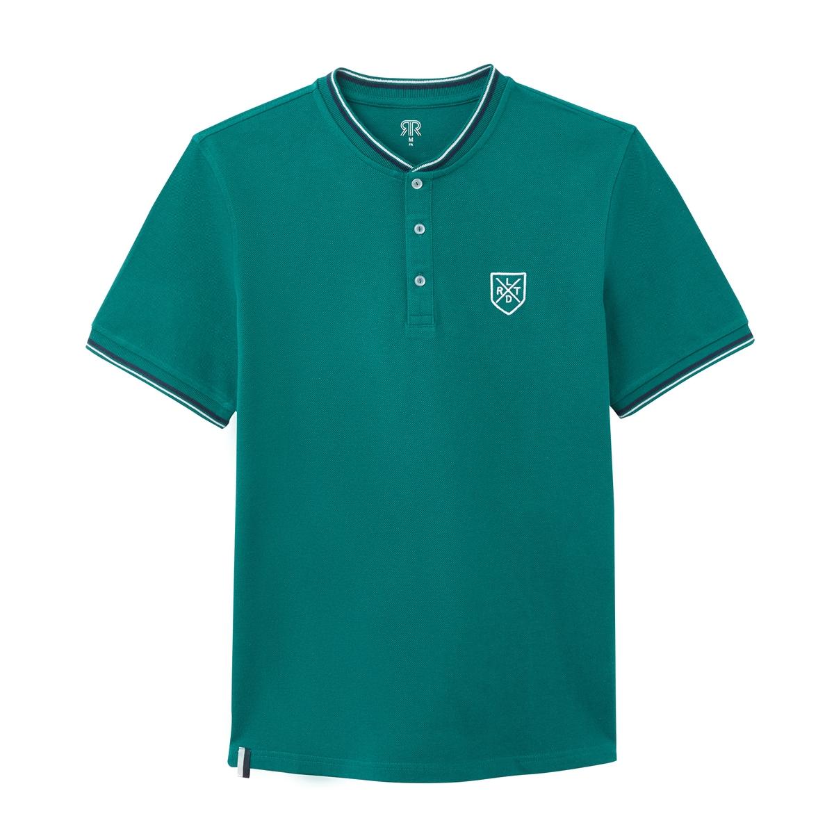 Футболка-поло La Redoute С тунисским вырезом и короткими рукавами S зеленый футболка с тунисским вырезом из 100% хлопка с эффектом фламме