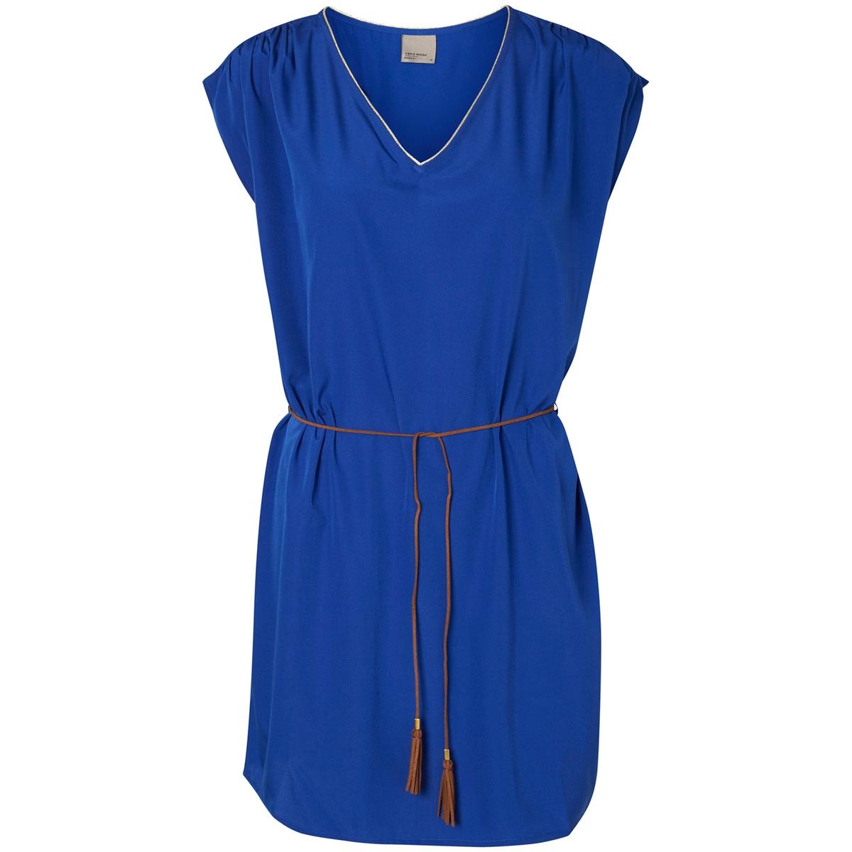 Платье с короткими рукавами, длина до колен, однотонноеМатериал : 100% полиэстер  Длина рукава : короткие рукава  Форма воротника : V-образный вырез Покрой платья : платье прямого покроя   Рисунок : однотонная модель   Длина платья : до колен<br><br>Цвет: синий