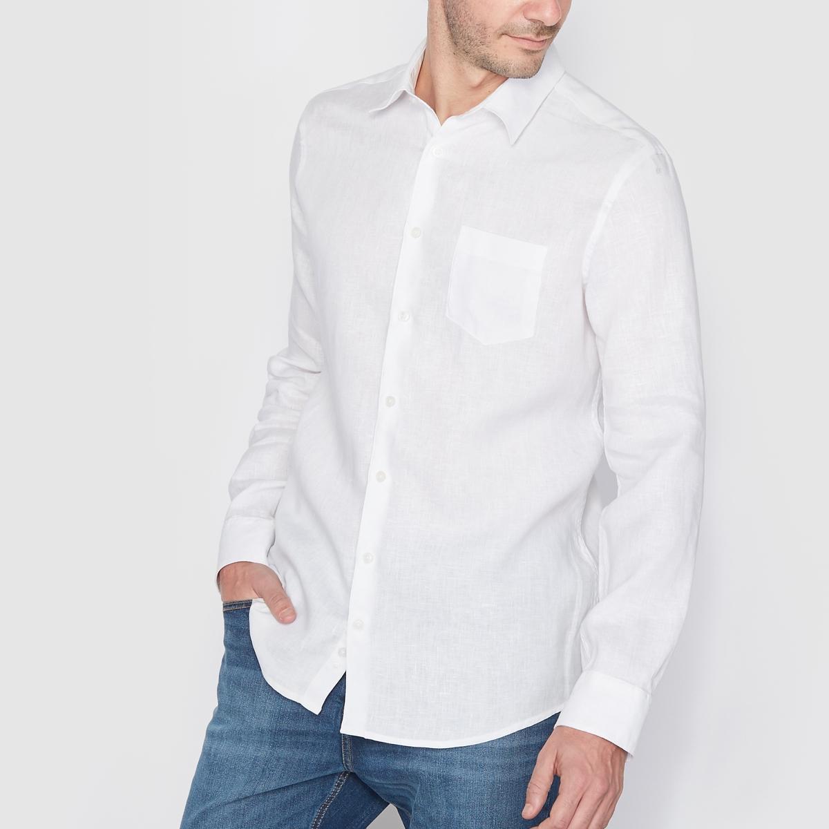 Рубашка прямого покроя с длинными рукавами, 100% ленРубашка                         100% лен. Длинные рукава. Воротник со свободными уголками. Нагрудный карман. Длина 77 см<br><br>Цвет: белый,голубой меланж,песочный,серо-коричневый,темно-синий,черный<br>Размер: 35/36.37/38.43/44.49/50.35/36.37/38.43/44.47/48.49/50.35/36.37/38.39/40.41/42.45/46.49/50.35/36.39/40.41/42.45/46.49/50.35/36.37/38.39/40.41/42.45/46.47/48.49/50.35/36.37/38.39/40.43/44.49/50