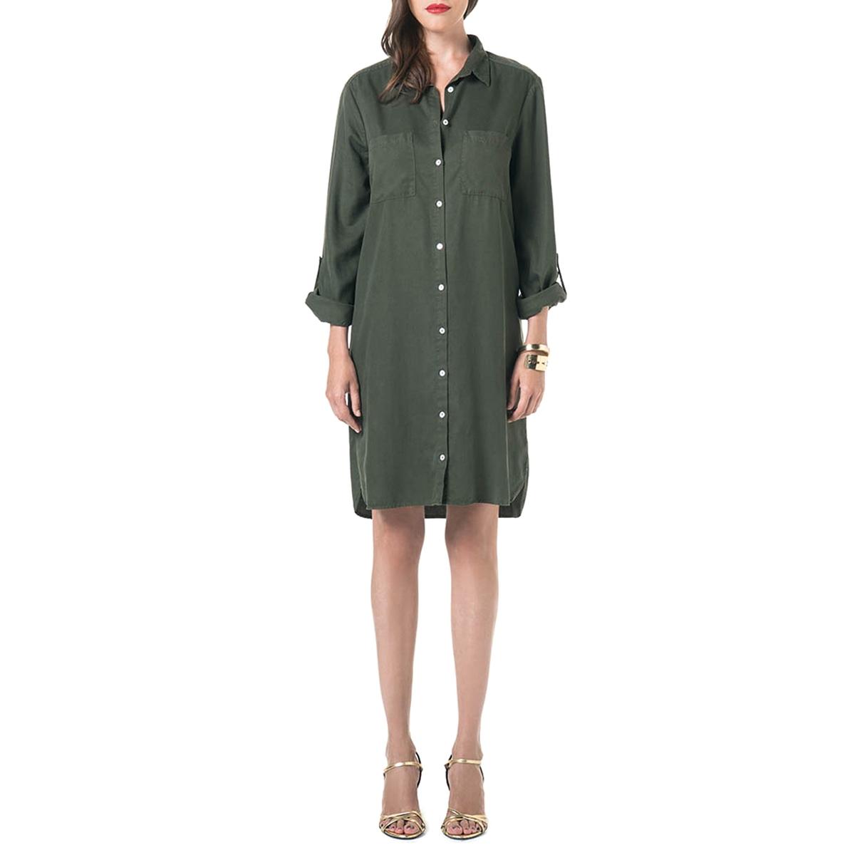 Платье-рубашка из тенселаМатериал : 100% лиоцелл  Длина рукава : Длинные рукава  Форма воротника : воротник-поло, рубашечный. Покрой платья : платье прямого покроя  Рисунок : Однотонная модель   Длина платья : до колен<br><br>Цвет: хаки<br>Размер: S.M