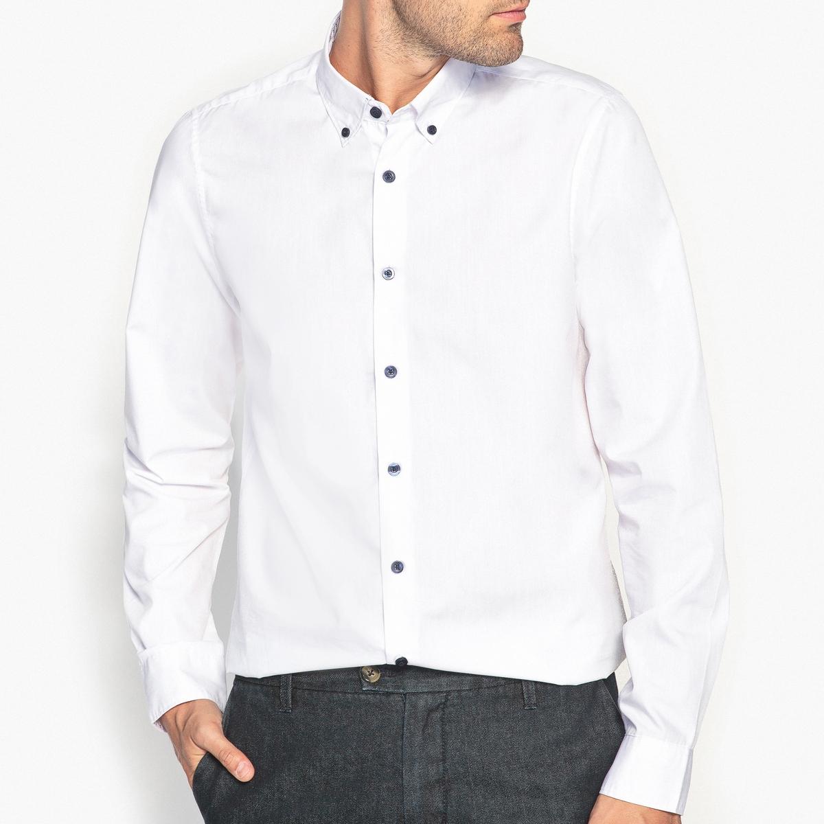 Рубашка-слим с оригинальными деталями