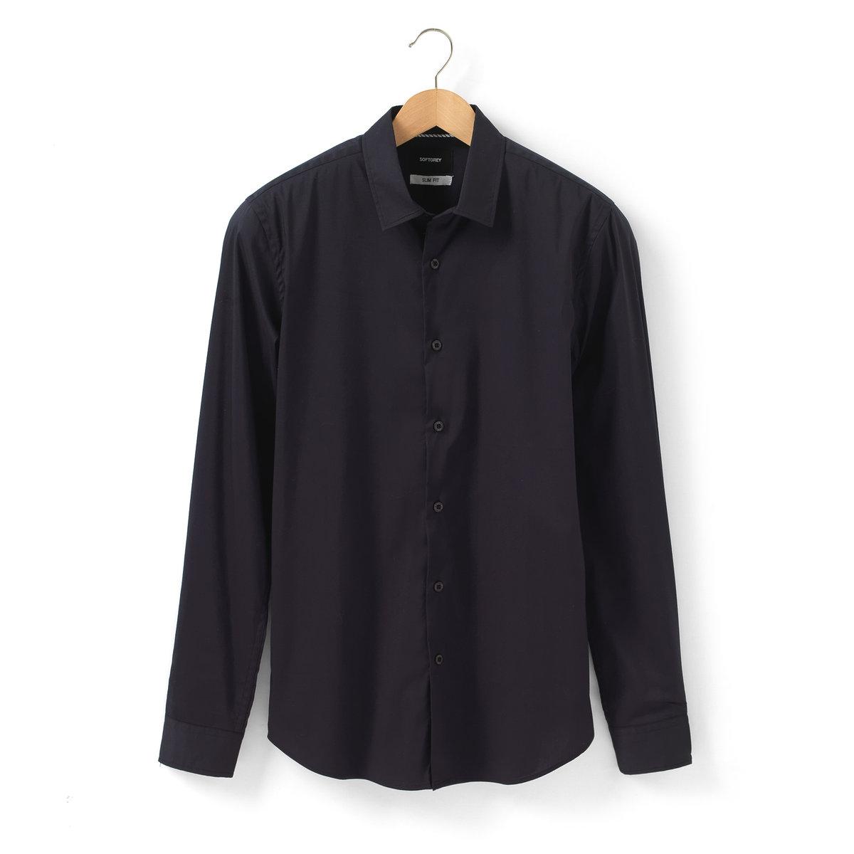 Рубашка облегающего покрояРубашка облегающего покроя. 100% хлопка. Свободные уголки воротника с пуговицами. Планка с пуговицами. Длинные рукава. Закругленный низ. Длина ок. 77 см.<br><br>Цвет: темно-синий<br>Размер: 39/40