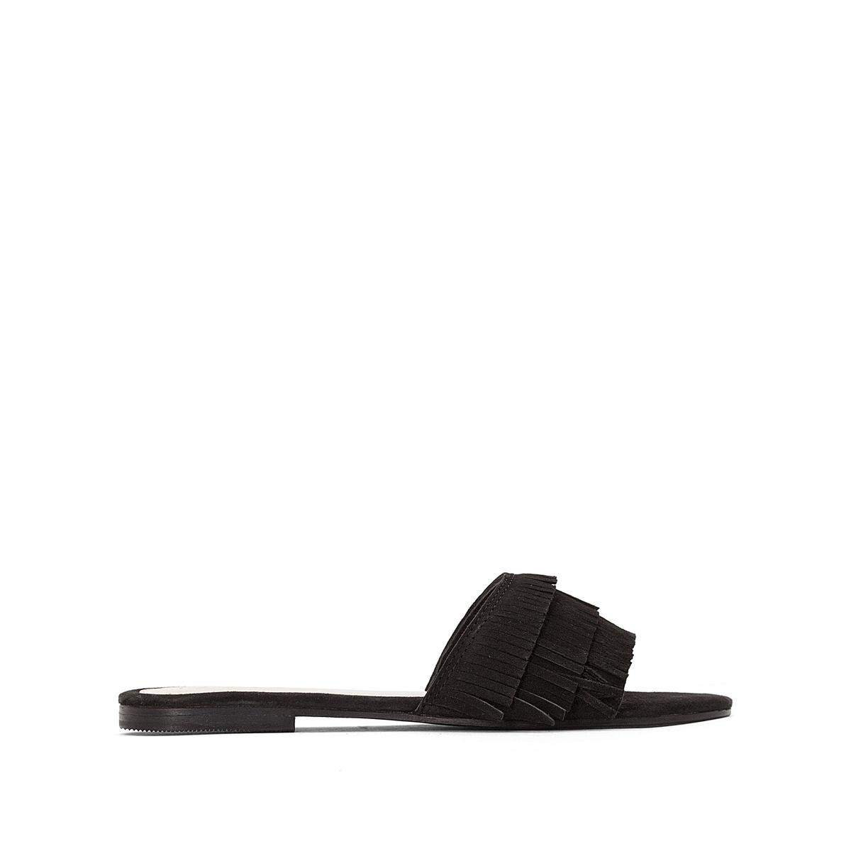 Туфли с открытой пяткой замшевые