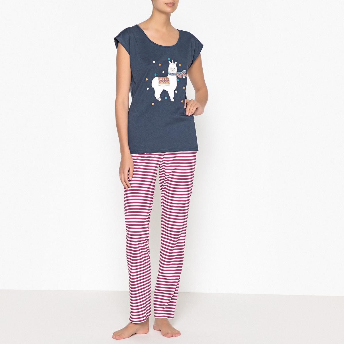 Пижама с рисунком из хлопка пижама с шортами с рисунком