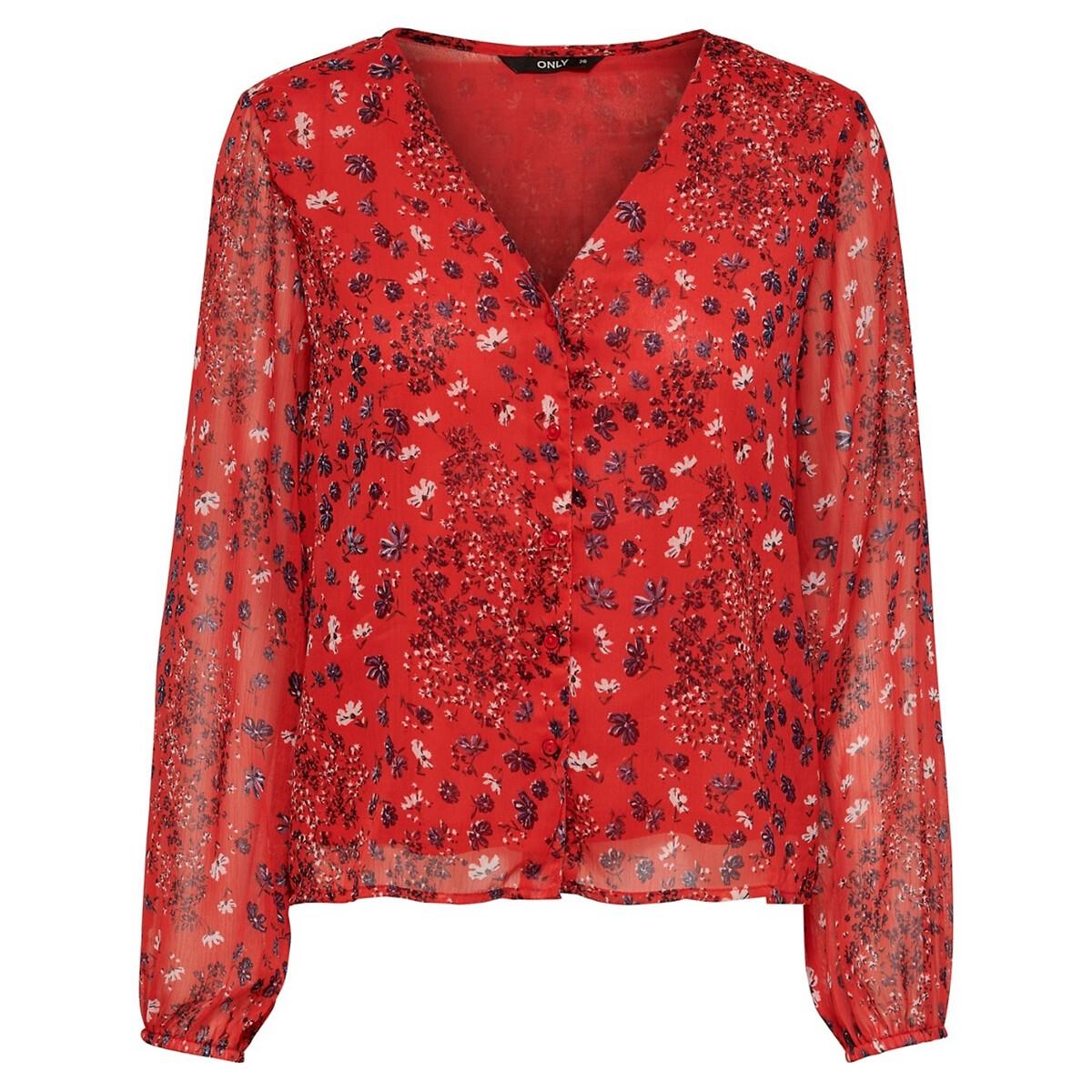 Блузка La Redoute Струящаяся с длинными рукавами v-образный вырез 34 (FR) - 40 (RUS) розовый рубашка la redoute струящаяся с цветочным принтом и длинными рукавами 34 fr 40 rus фиолетовый