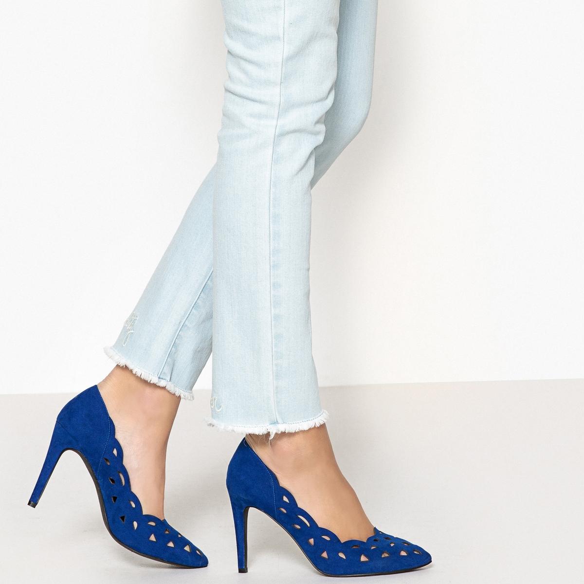 Zapatos de tacón de aguja, con terciopelo calado