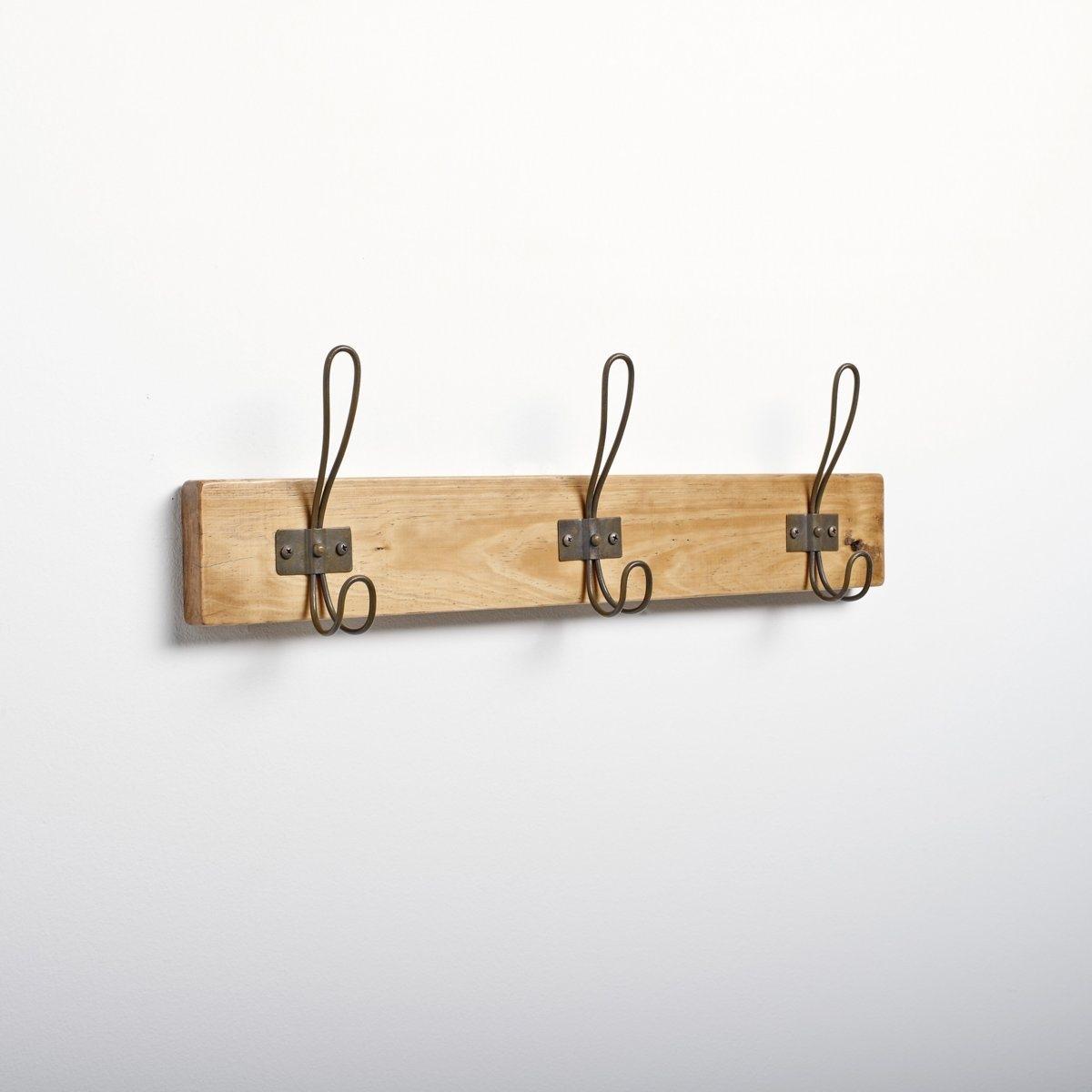 Вешалка настеннаяХарактеристики настенной вешалки :- Каркас : из гельвеи  3 металлических крючка .Размеры настенной вешалки :Ш.57,5 x В.17,5 x Г.8 см.<br><br>Цвет: светлое дерево медовый,темно-бежевый