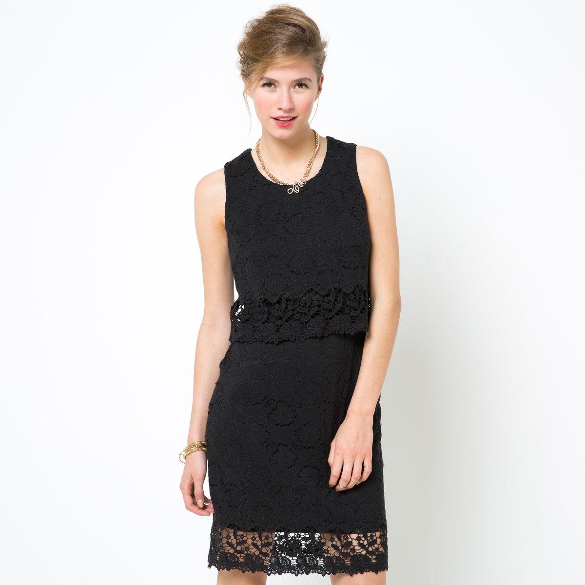 Платье MADEMOISELLE RПрямой покрой. Кружево и гипюр, верх: 65% хлопка, 35% полиамида, подкладка - 100% полиэстера. Круглый вырез спереди и сзади. Застежка на молнию сзади. Волнистая отделка низа. Длина ко.94 см.<br><br>Цвет: черный