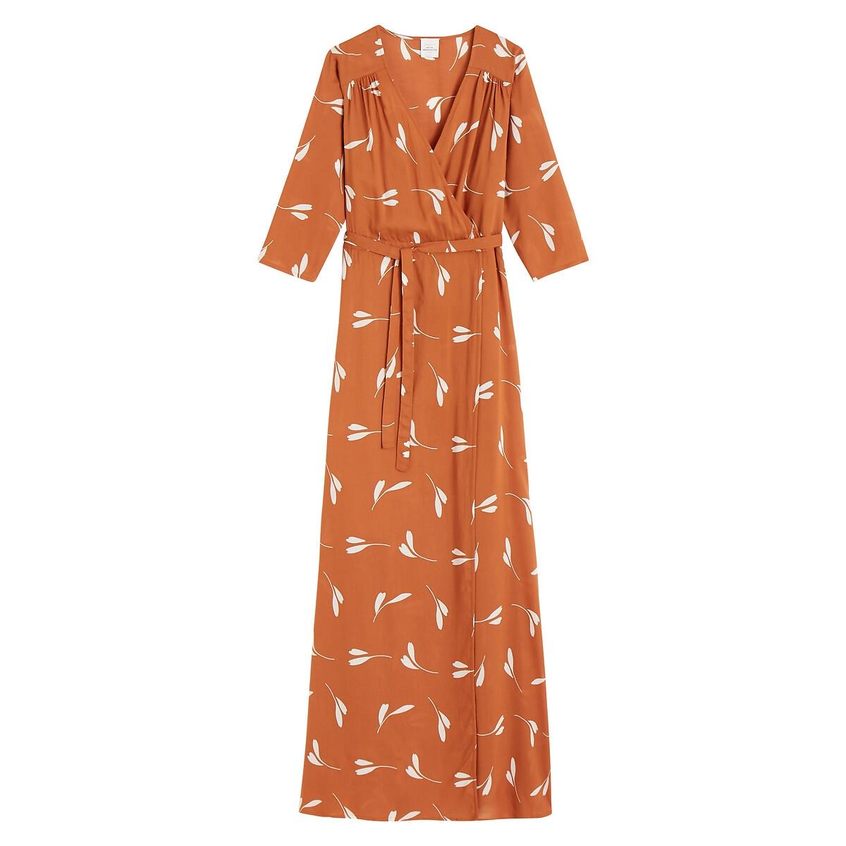 Платье La Redoute С запахом и принтом длинное MARIE LOUISE XS каштановый платье длинное с запахом с рисунком coming