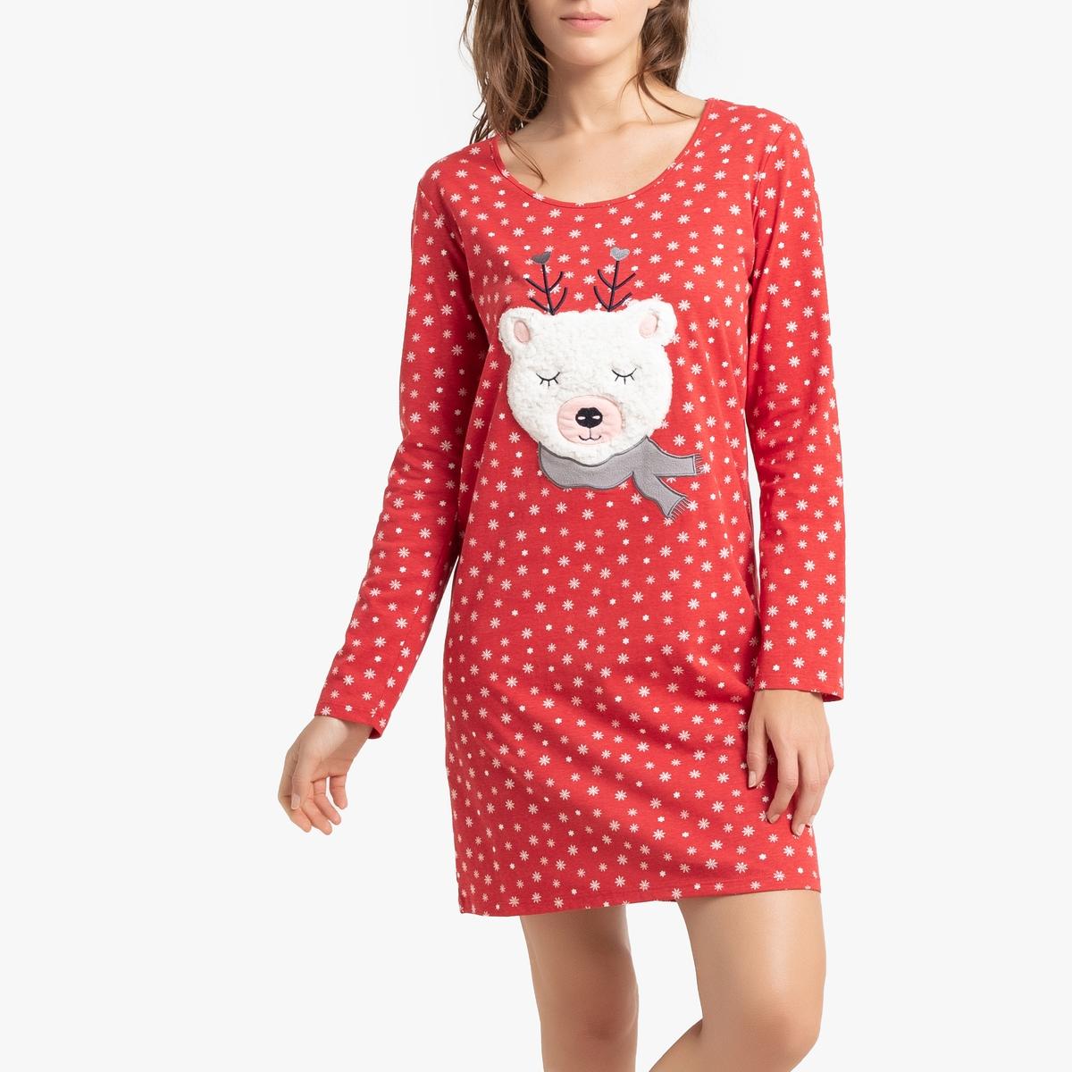 Рубашка La Redoute Ночная с рисунком и длинными рукавами 34/36 (FR) - 40/42 (RUS) красный