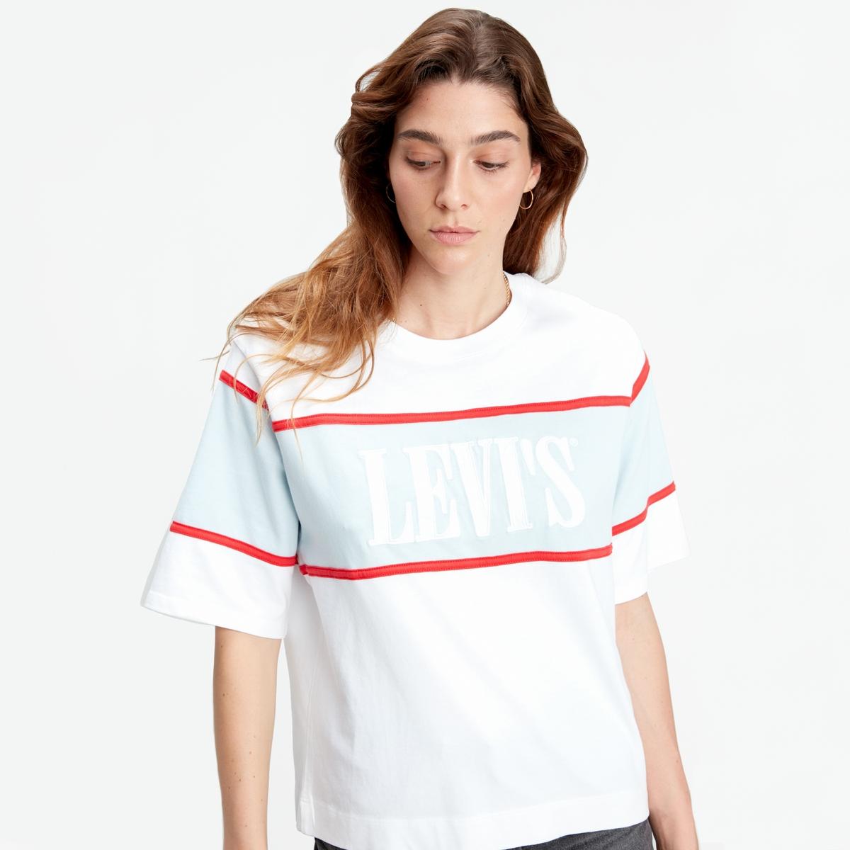 Camiseta corta con corte amplio y logotipo