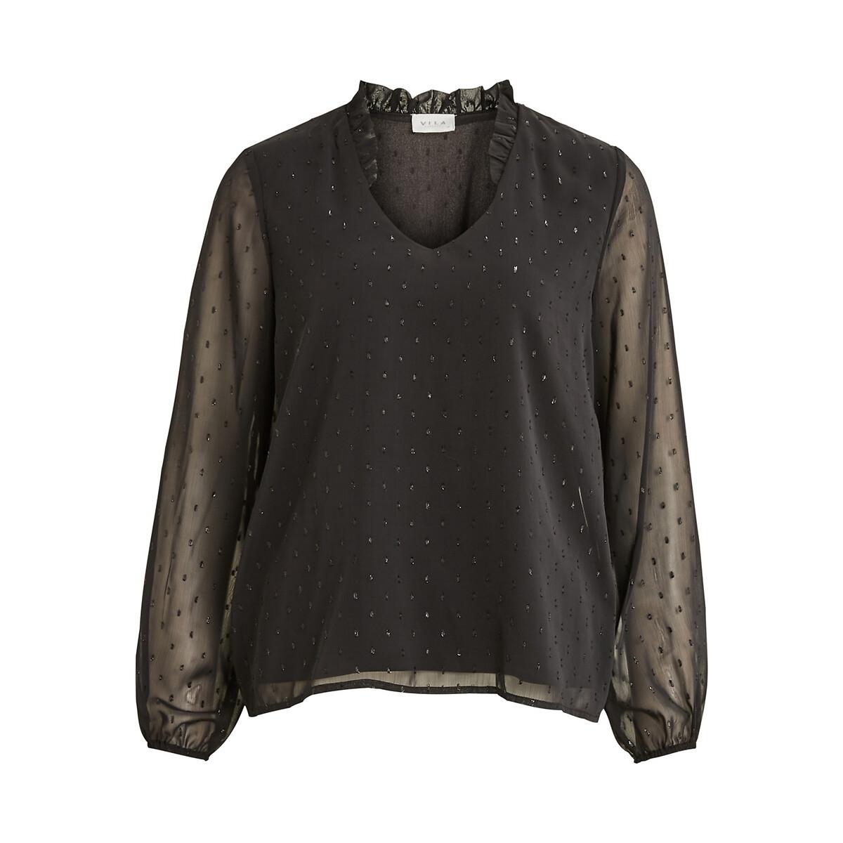 Блузка LaRedoute С v-образным вырезом длинные рукава фольга 38 (FR) - 44 (RUS) черный рубашка laredoute ночная с v образным вырезом цветочный принт 38 40 fr 44 46 rus синий
