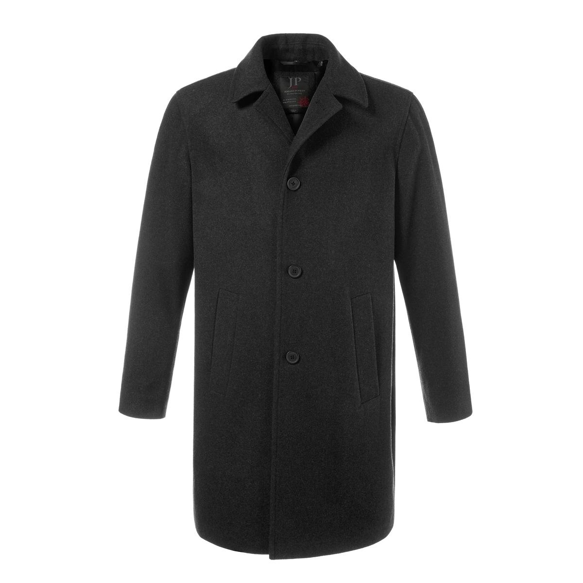 Пальто 50% шерстиПальто из шерсти JP1880. 50% шерсти, 50% полиэстера.. Подкладка: 100% полиэстер. Шерсть высокого качества, отвороты, пуговицы и 2 кармана . Разрез сзади, подкладка с карманами . Длина в зависимости от размера 97 - 106 см .<br><br>Цвет: черный<br>Размер: 6XL