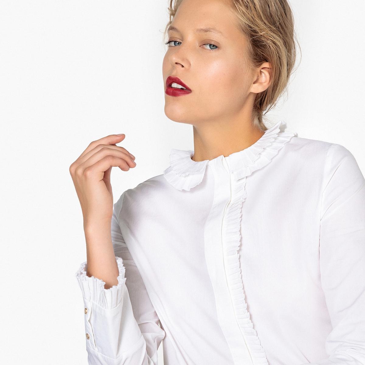 Блузка с закругленным отложным воротником с воланами и длинными рукавами
