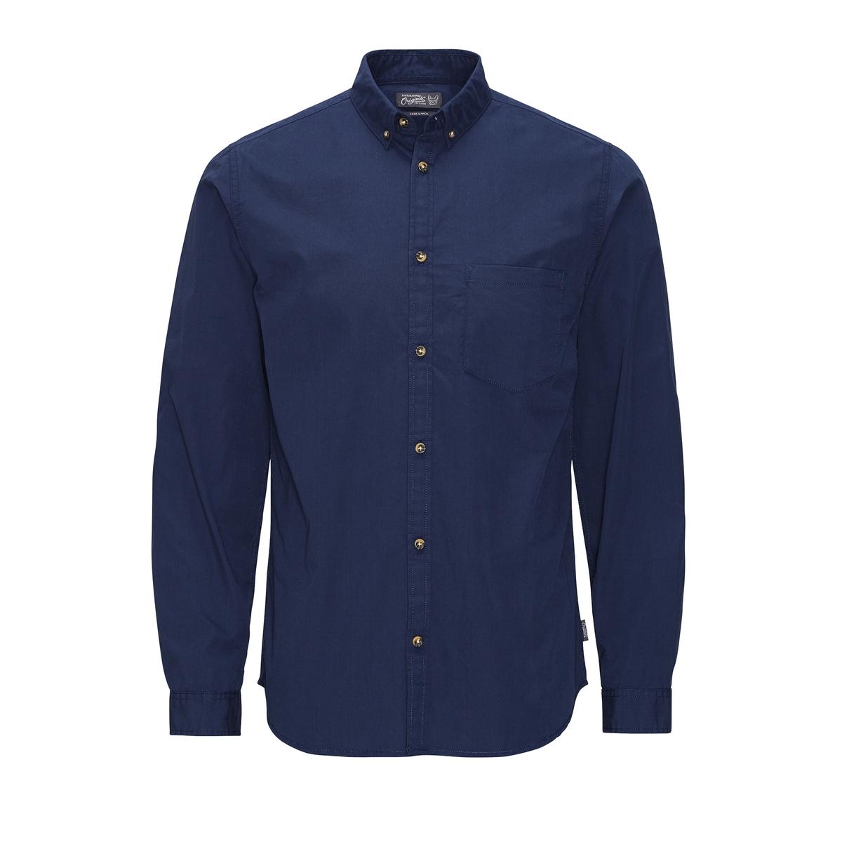 Рубашка с длинными рукавамиСостав и описаниеМатериал: 100% хлопок.Марка: JACK &amp; JONES.<br><br>Цвет: темно-синий