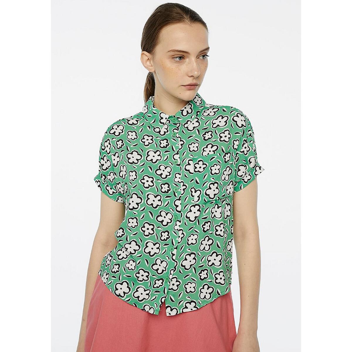 Рубашка La Redoute С короткими рукавами с цветочным принтом XS зеленый цена 2017