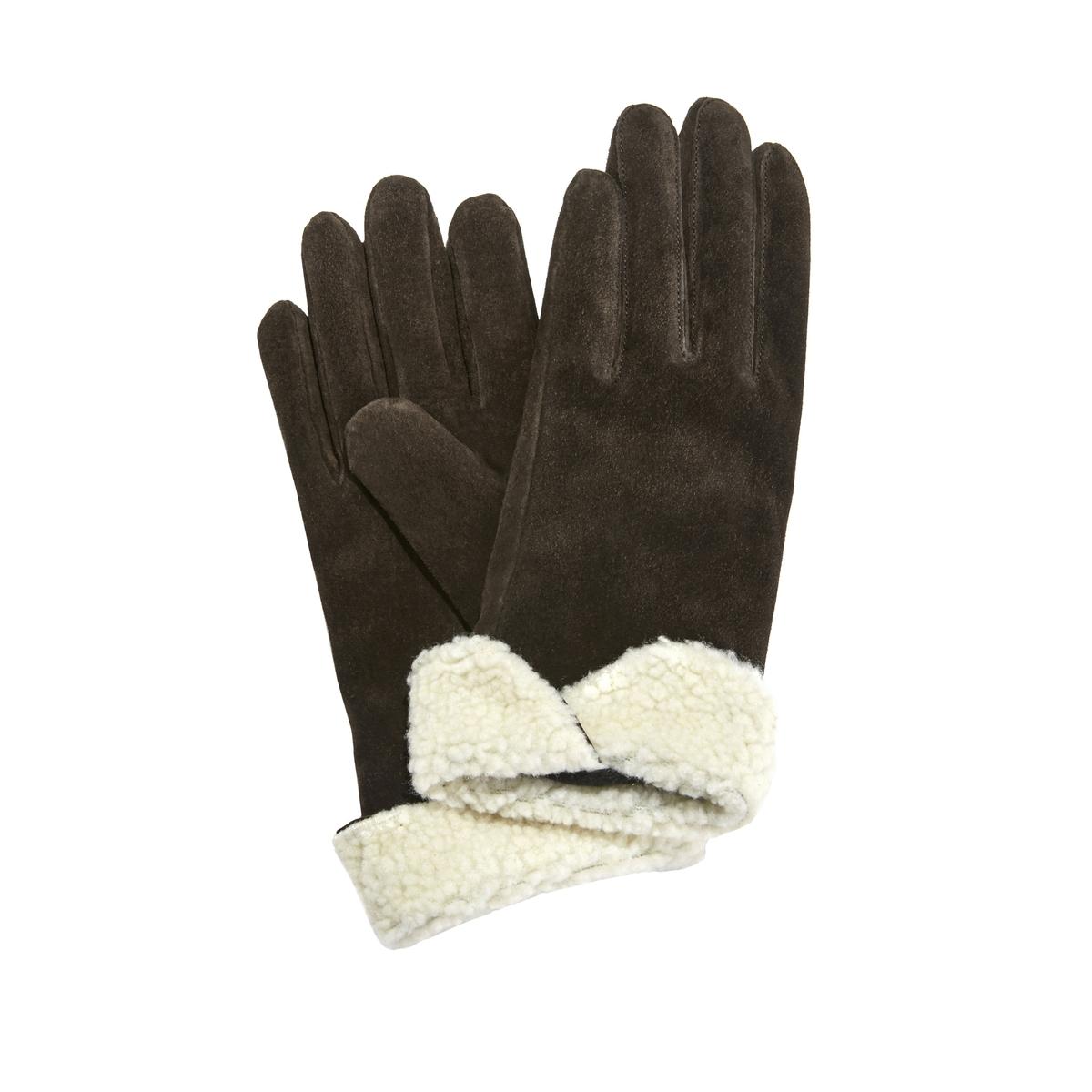 Перчатки La Redoute Кожаные на меху S каштановый сапоги la redoute кожаные на меху размеры 26 каштановый
