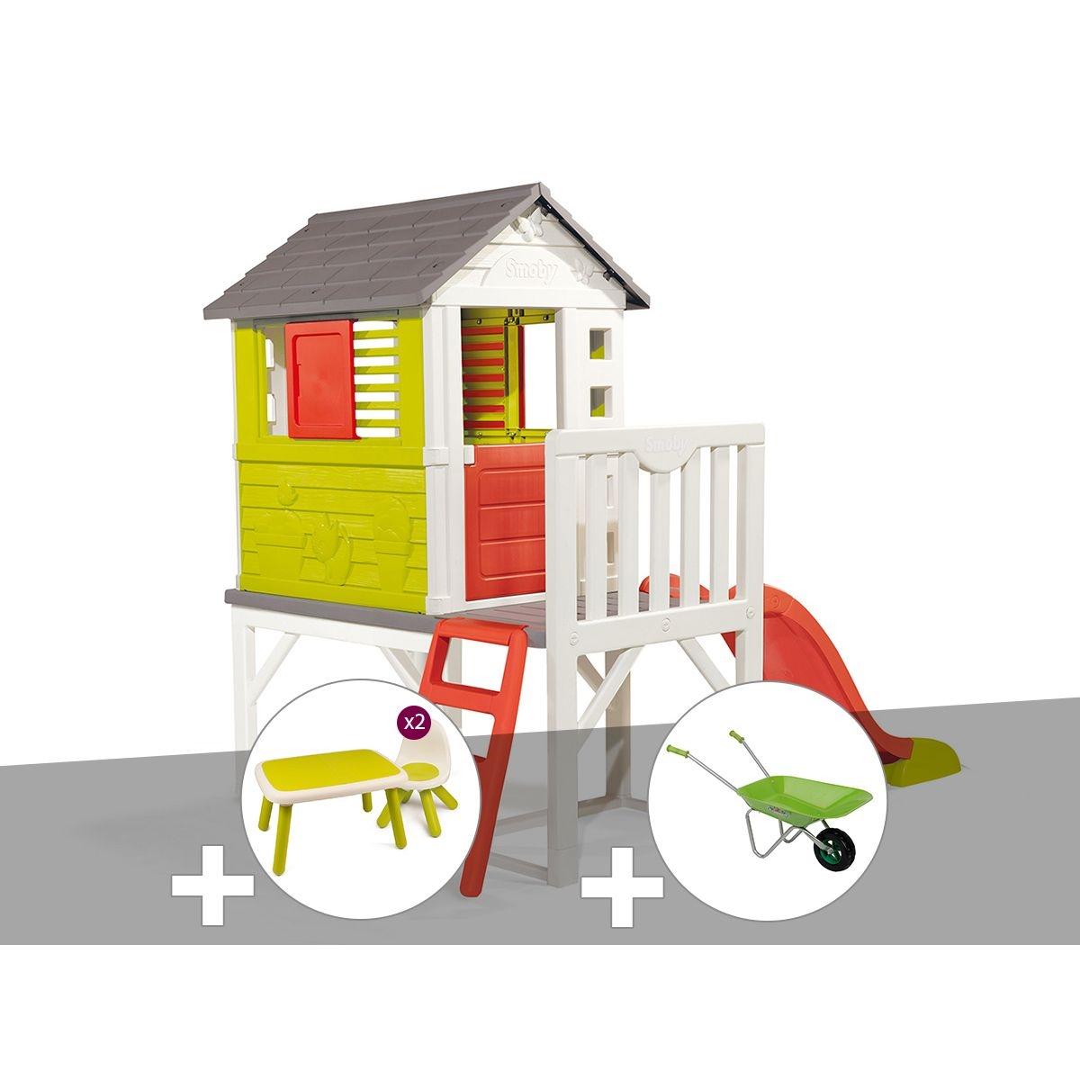 Cabane enfant Pilotis - Smoby + Table et 2 chaises + Brouette
