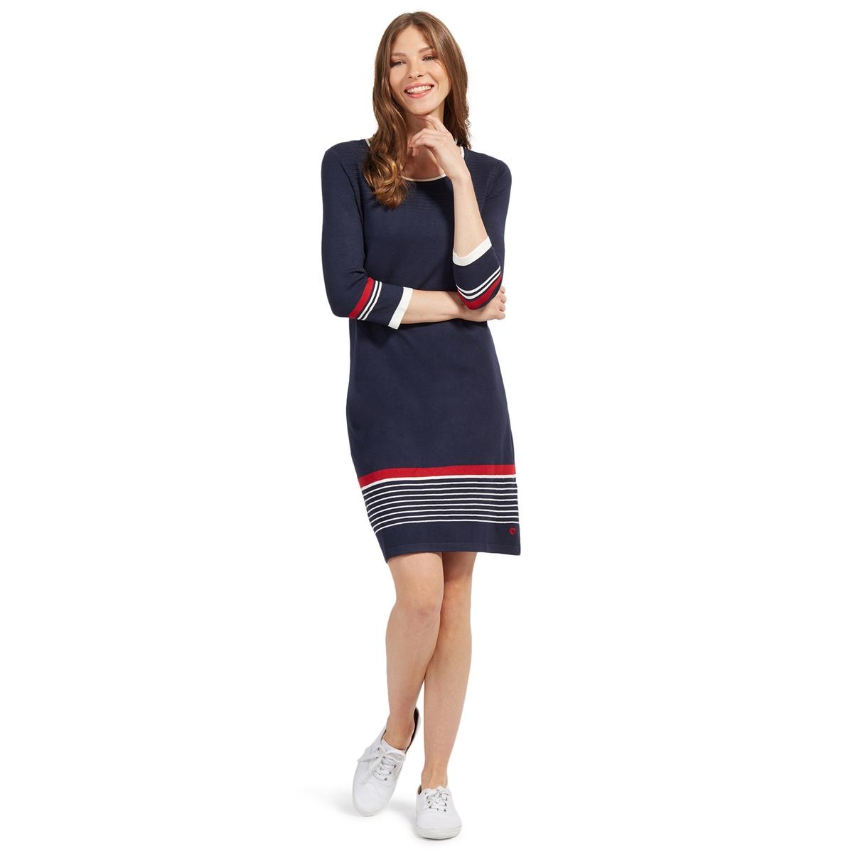 Платье прямое короткое с рисунком в полоскуДетали •  Форма : прямая •  Укороченная модель •  Длинные рукава    •  Круглый вырез  •  Рисунок в полоскуСостав и уход •  81% вискозы, 19% полиамида •  Следуйте рекомендациям по уходу, указанным на этикетке изделия<br><br>Цвет: темно-синий/белый/красный<br>Размер: 40 (FR) - 46 (RUS)