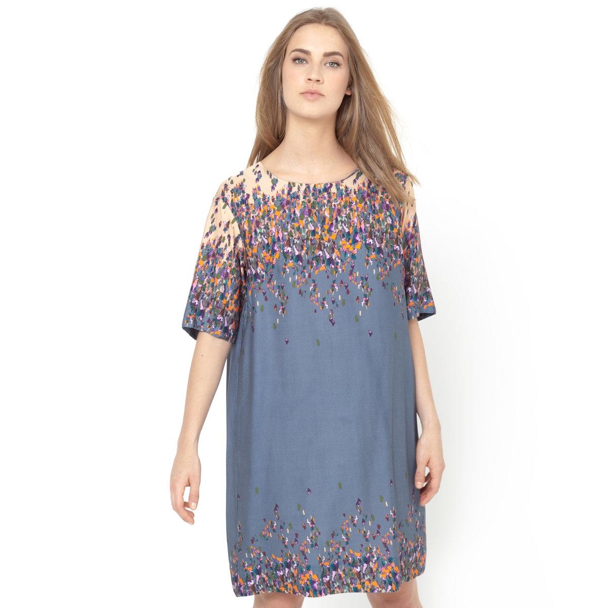 Платье с рукавами 3/4<br><br>Цвет: серо-зеленый<br>Размер: 38 (FR) - 44 (RUS)