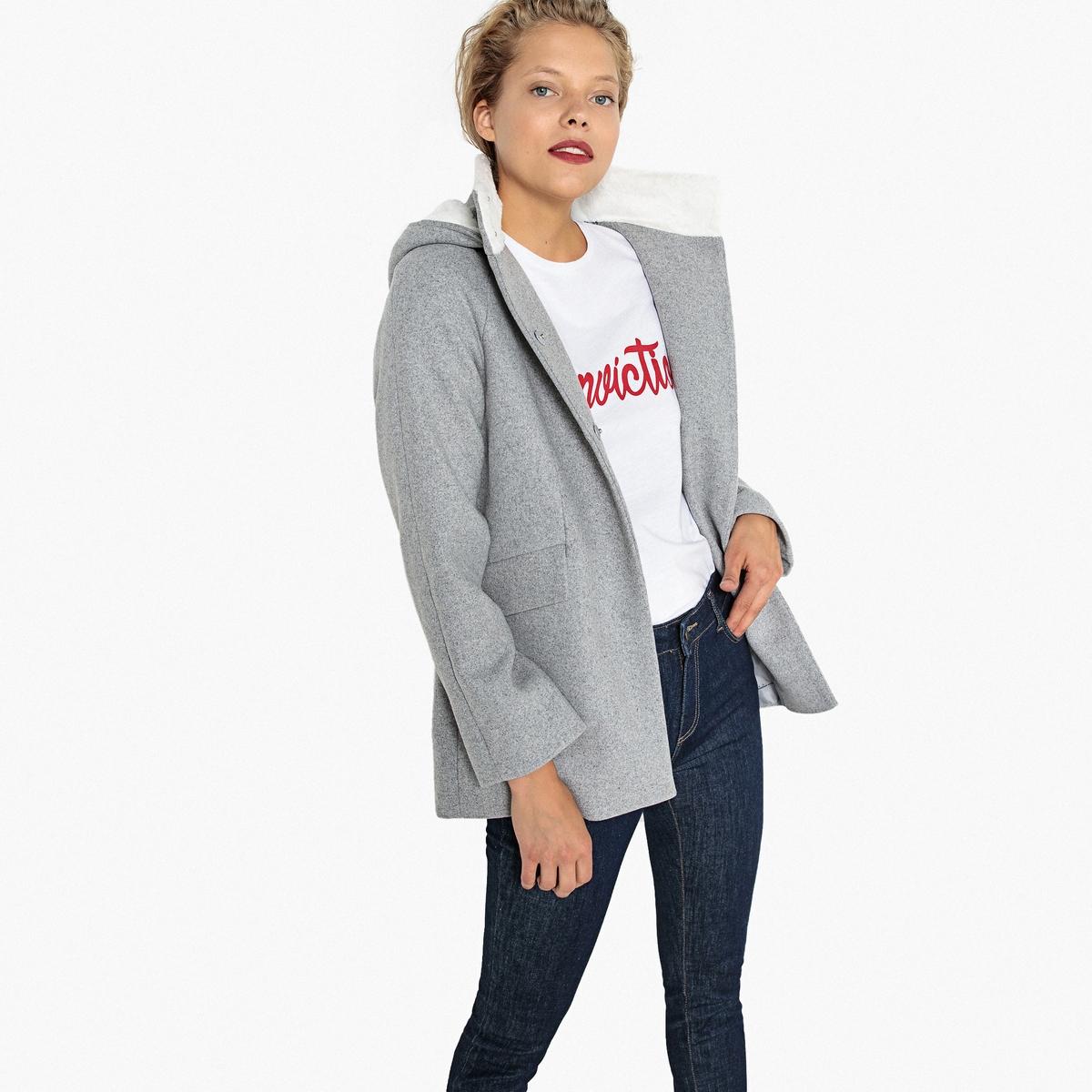 Пальто полушерстяное с капюшоном полушерстяное пальто