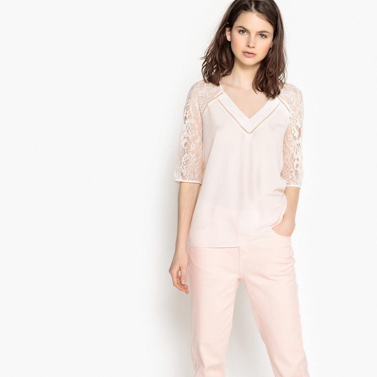 Блузка с V-образным вырезом и рукавами 3/4 из кружева блузка с квадратным вырезом со вставкой из кружева