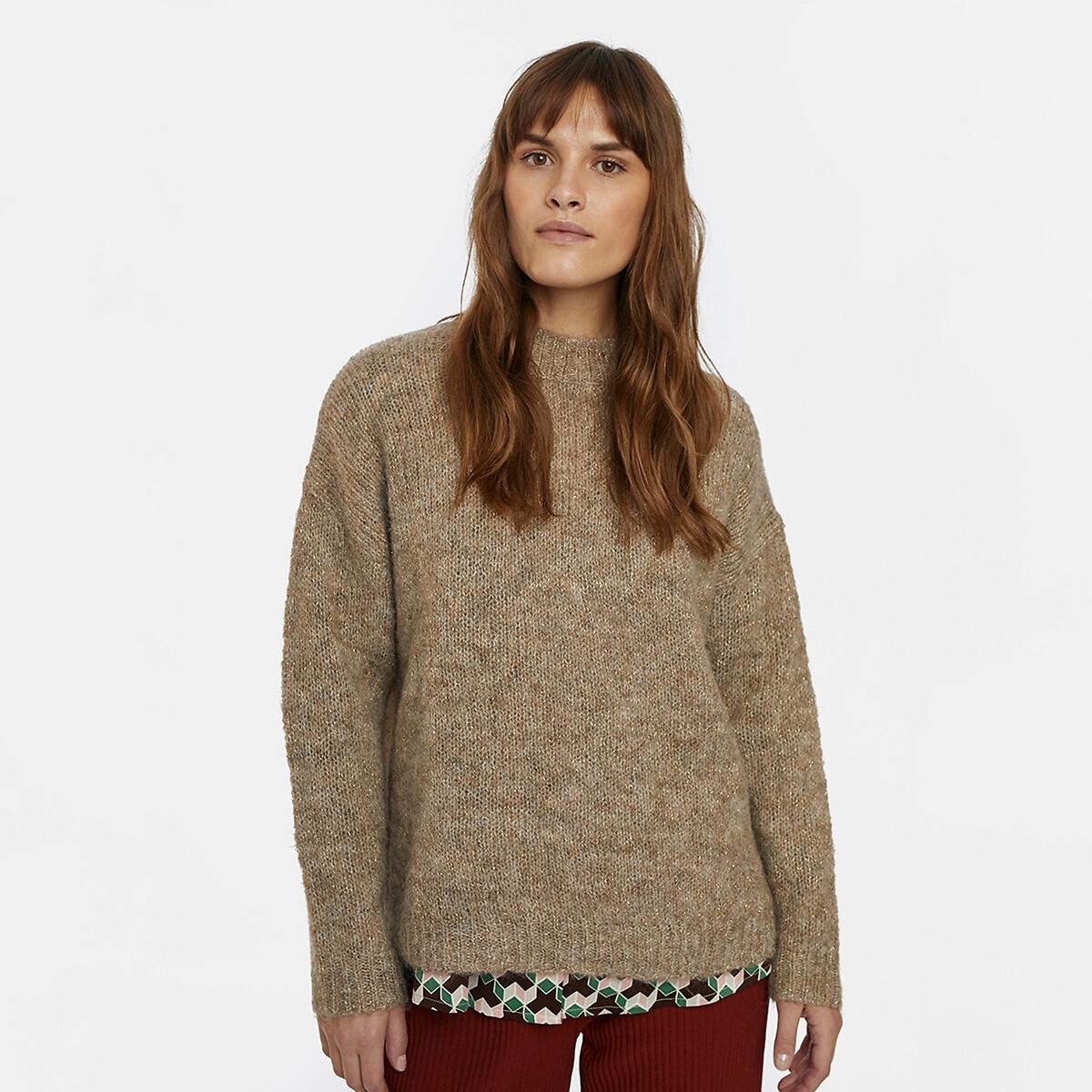 Пуловер LaRedoute Из плотного трикотажа с круглым вырезом S бежевый