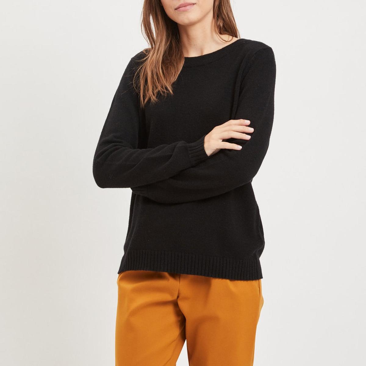 Пуловер с круглым вырезом спереди и V-образным вырезом сзади пуловер с v образным вырезом v mevil