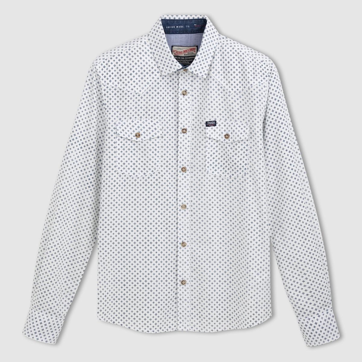 Рубашка SIL 454, 100% хлопка. Длинные рукаваРубашка SIL 454 с длинными рукавами PETROL INDUSTRIES®           Прямой покрой, классический воротник . 2 кармана спереди . Рубашка 100% хлопка с простым и элегантным рисунком  .<br><br>Цвет: экрю