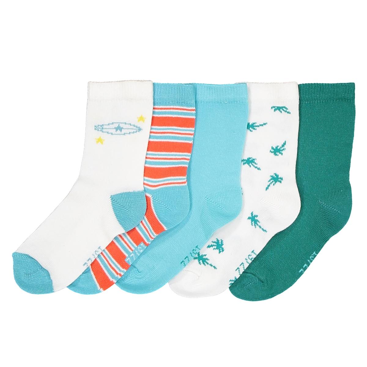Носки с тематикой сёрфинг, комплект из 5 пар комплект из 5 пар коротких носков из хлопка