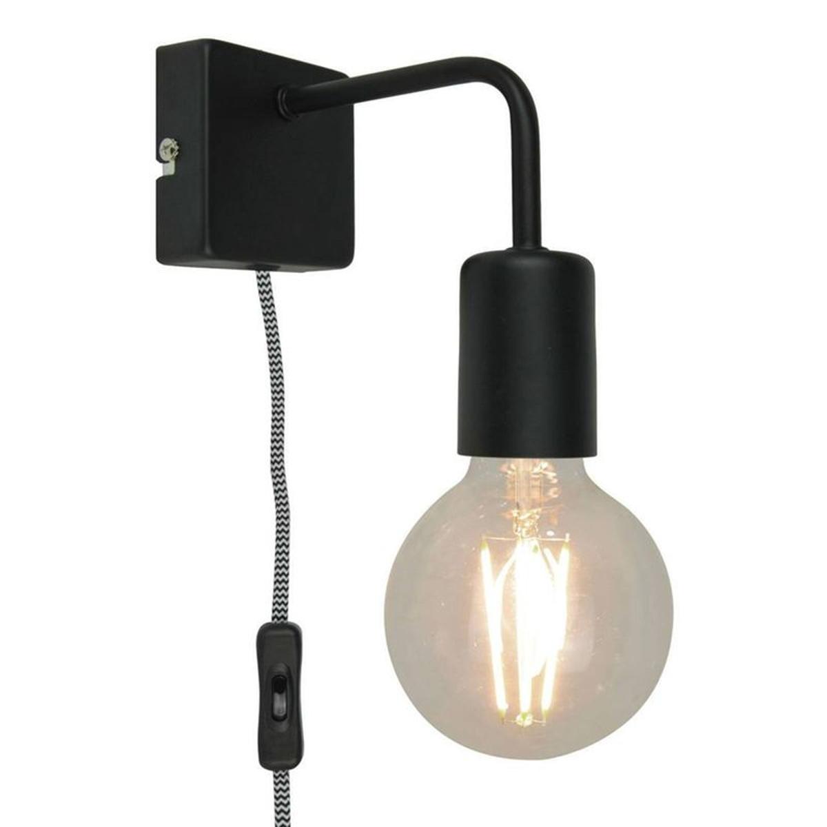 lina - applique avec interrupteur métal noir l15cm noir sampa helios
