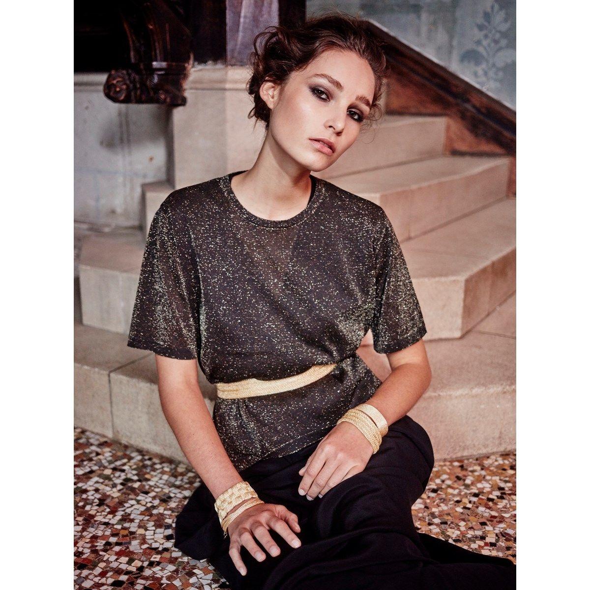 T-shirt manches courtes transparent en Fil textile Midnight